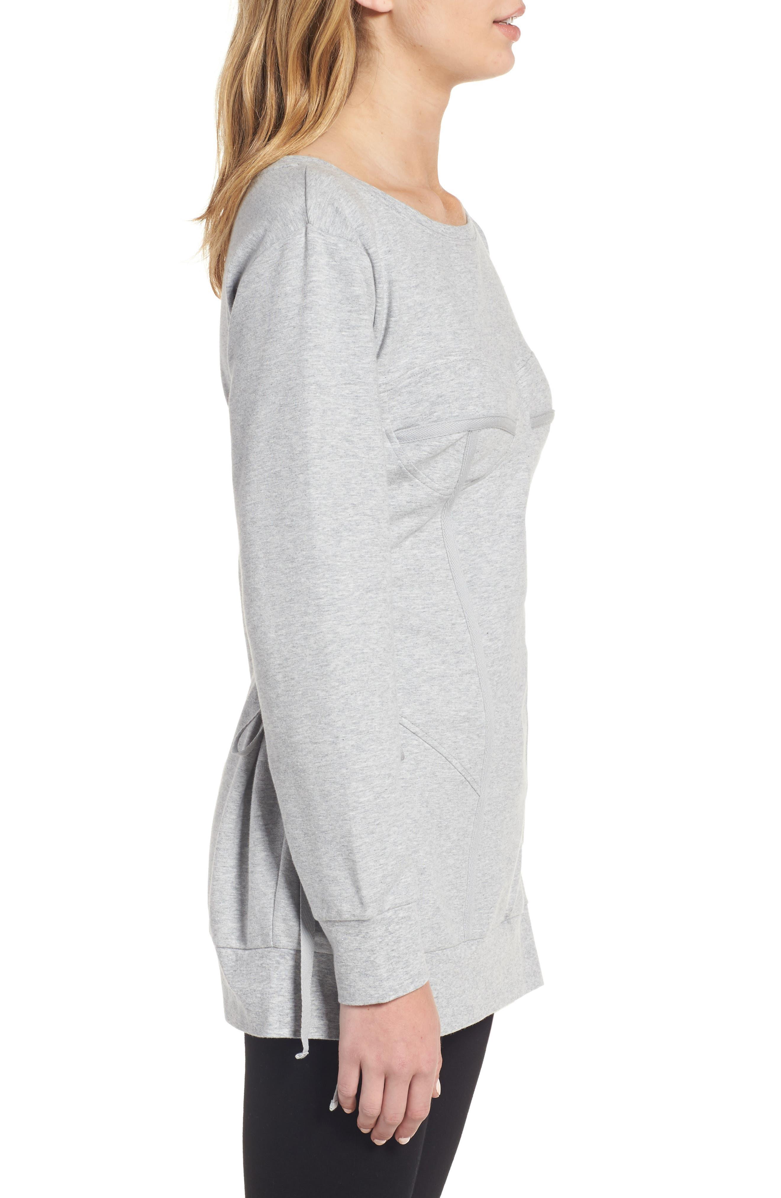 Corset Sweatshirt,                             Alternate thumbnail 3, color,                             Grey Heather