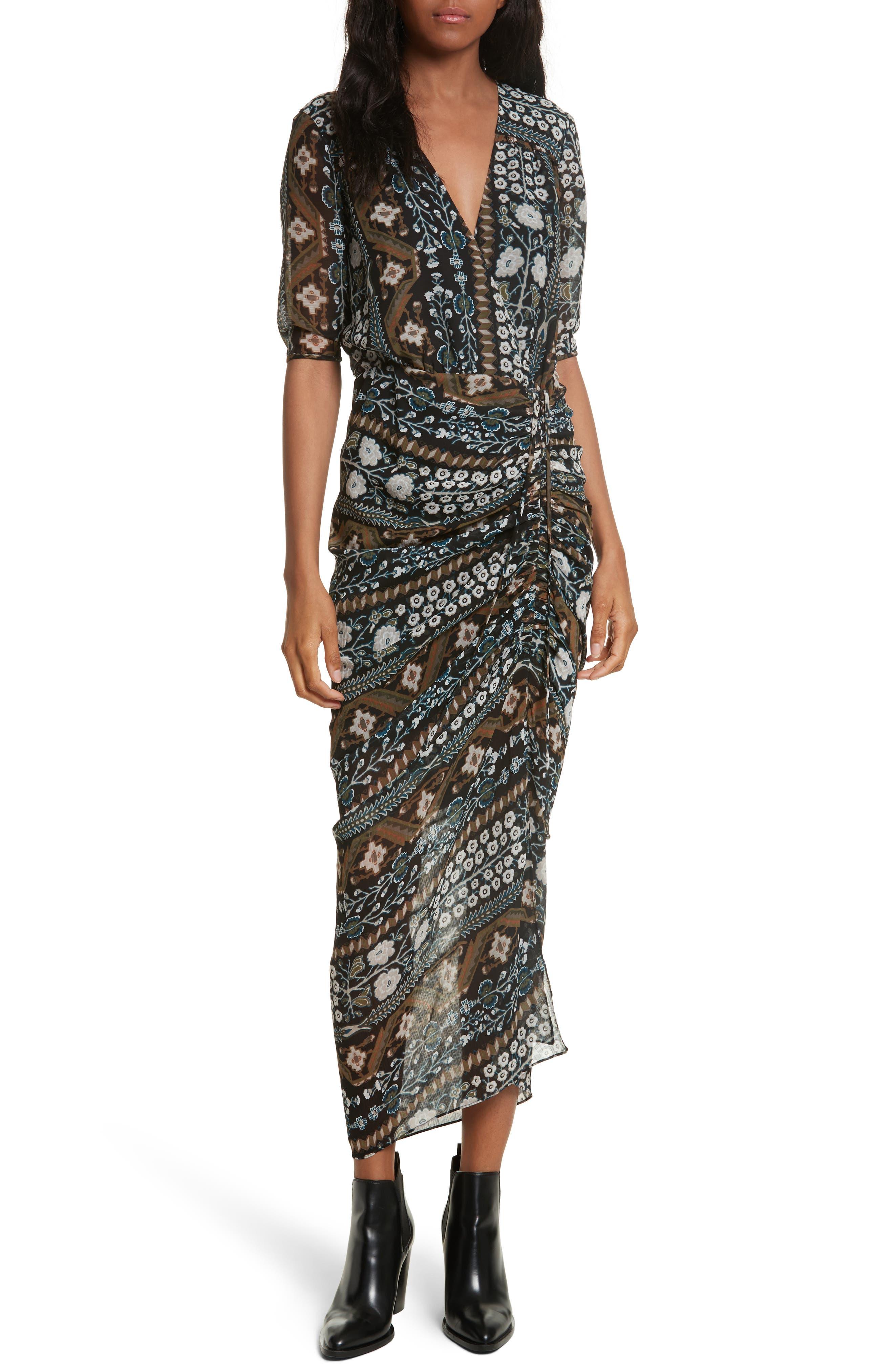 Perla Ruched Midi Dress,                         Main,                         color, Army/ Black Multi