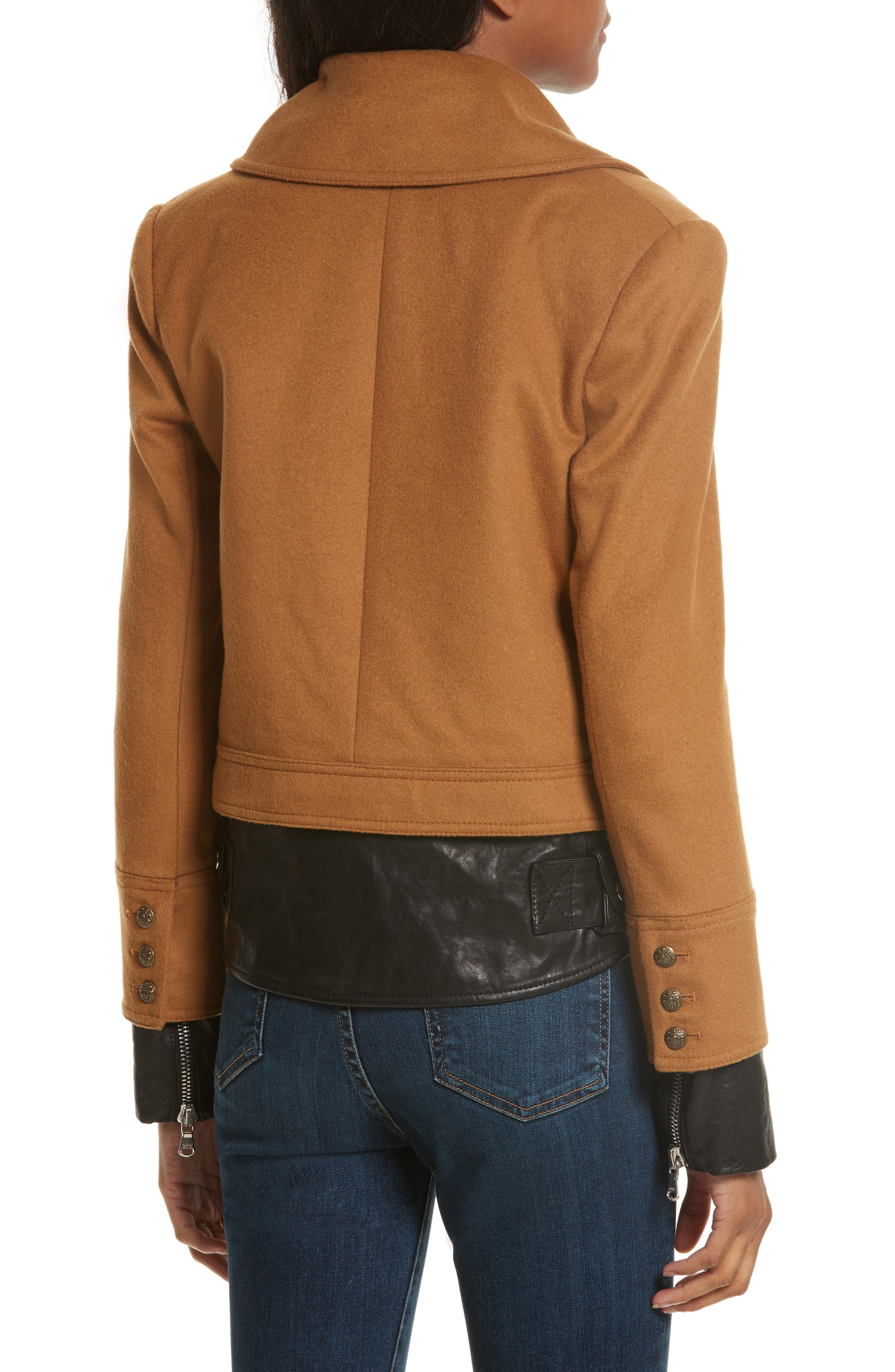 Yara Leather Hem Peacoat,                             Alternate thumbnail 3, color,                             Camel