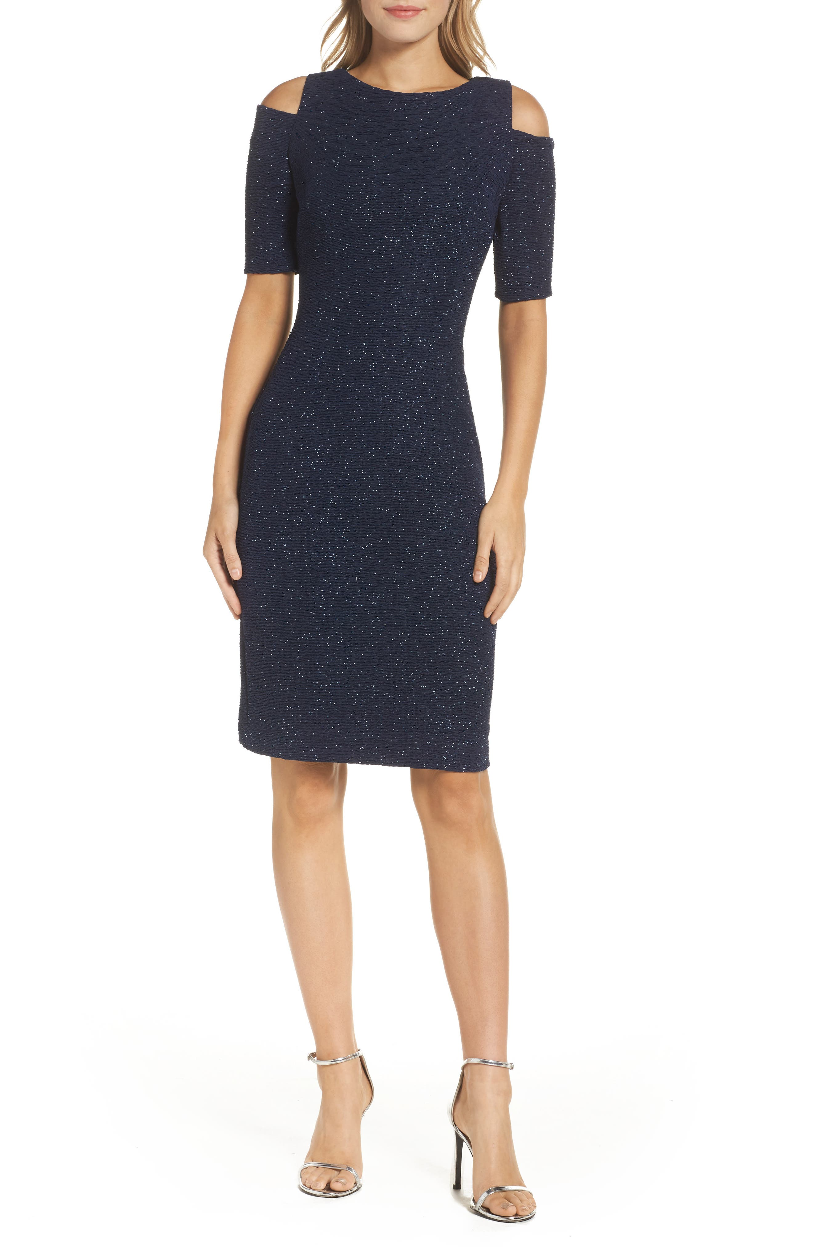Cold Shoulder Sparkle Knit Sheath Dress,                         Main,                         color, Navy