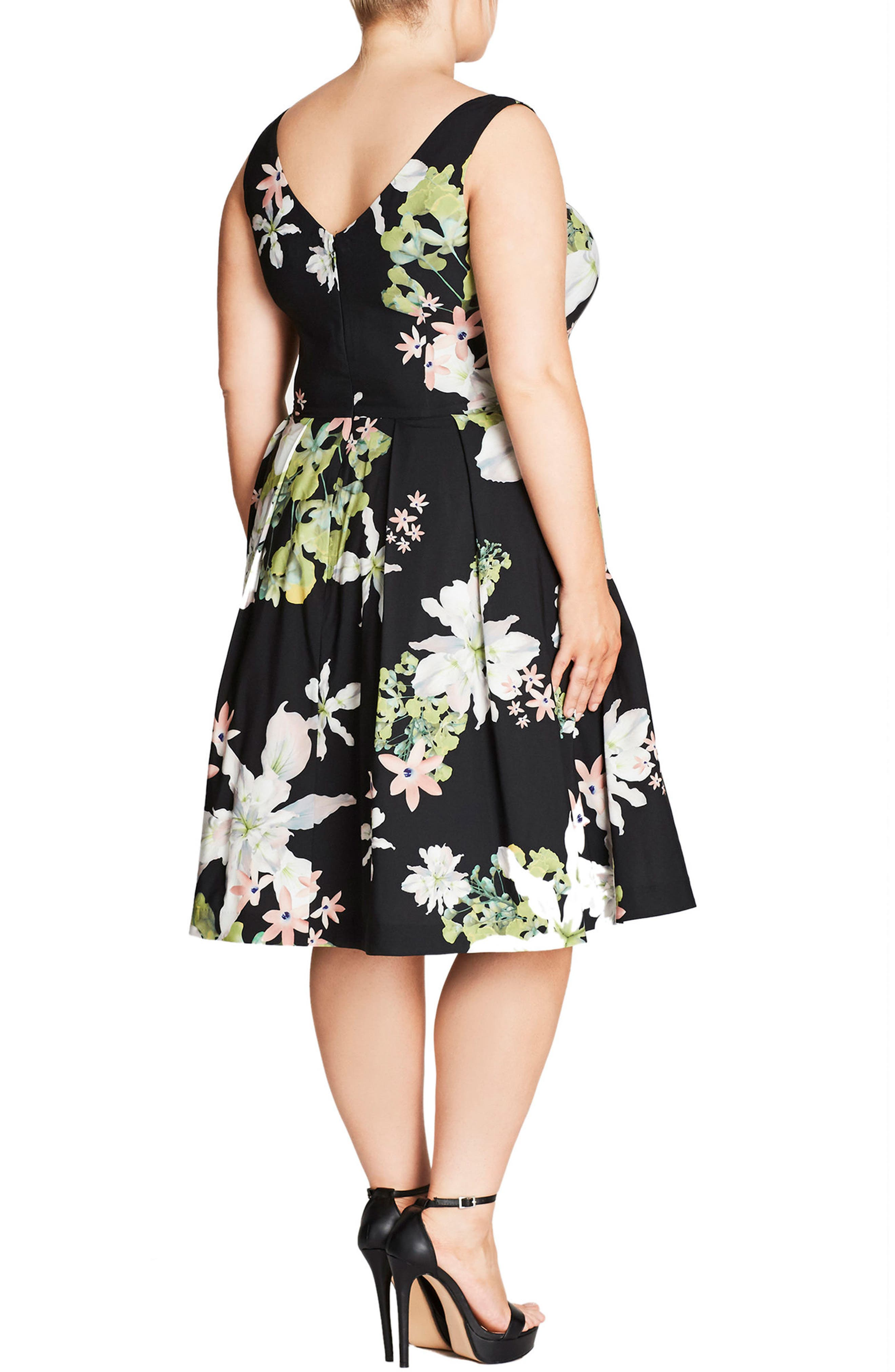 Alternate Image 2  - City Chic Spring Sweetie Fit & Flare Dress (Plus Size)