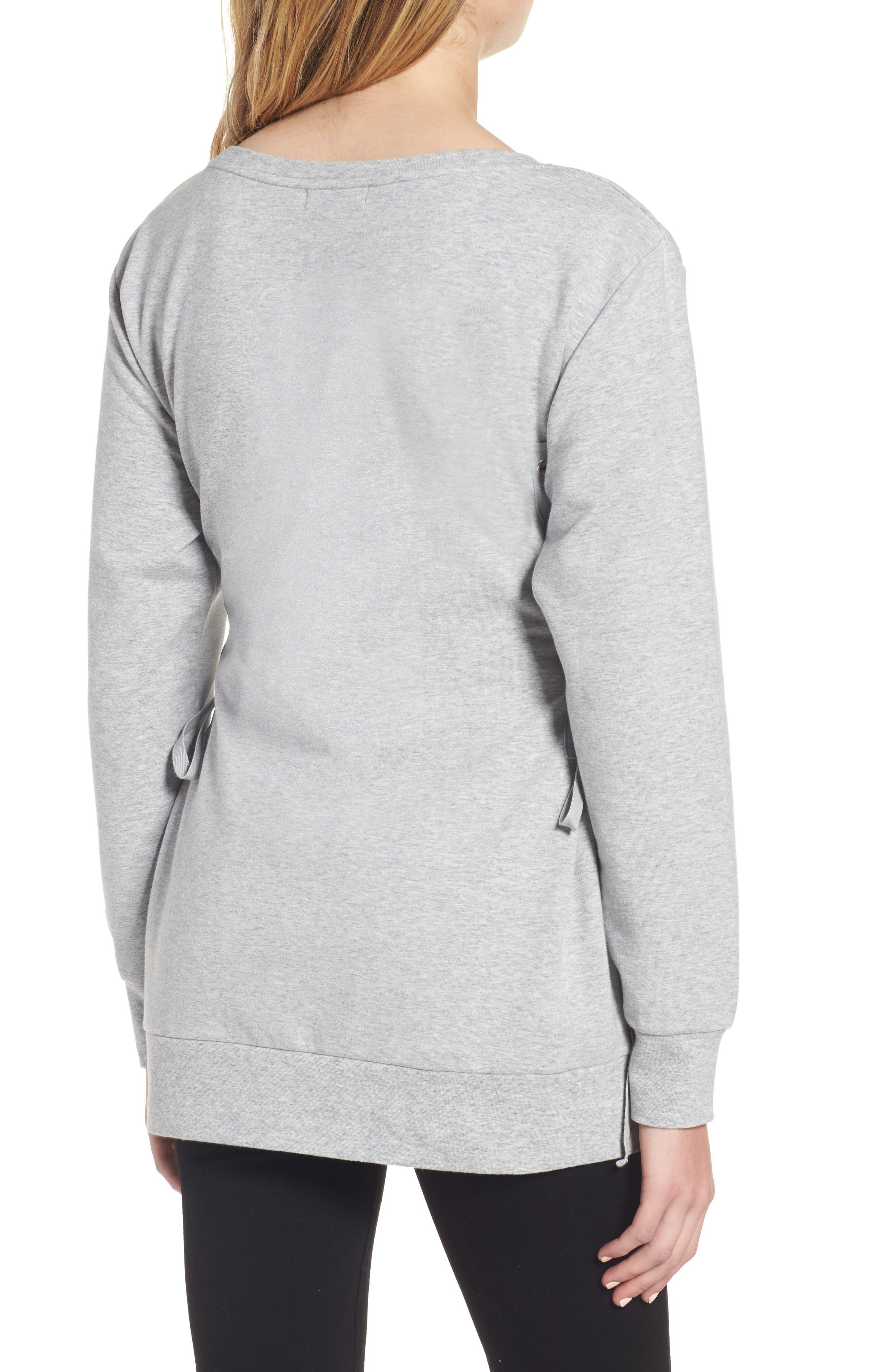 Corset Sweatshirt,                             Alternate thumbnail 2, color,                             Grey Heather