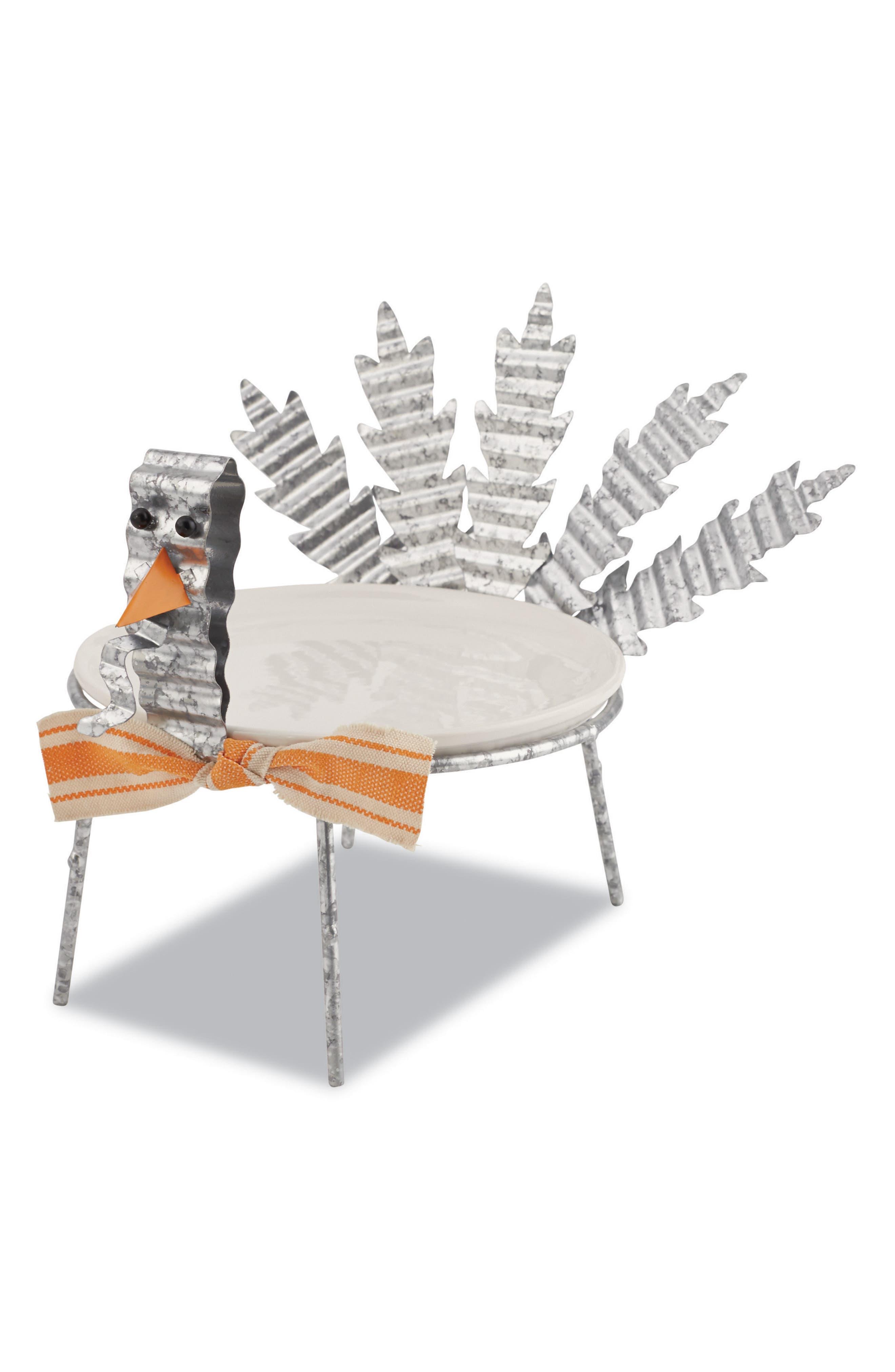 Mud Pie Turkey Plate & Stand Set