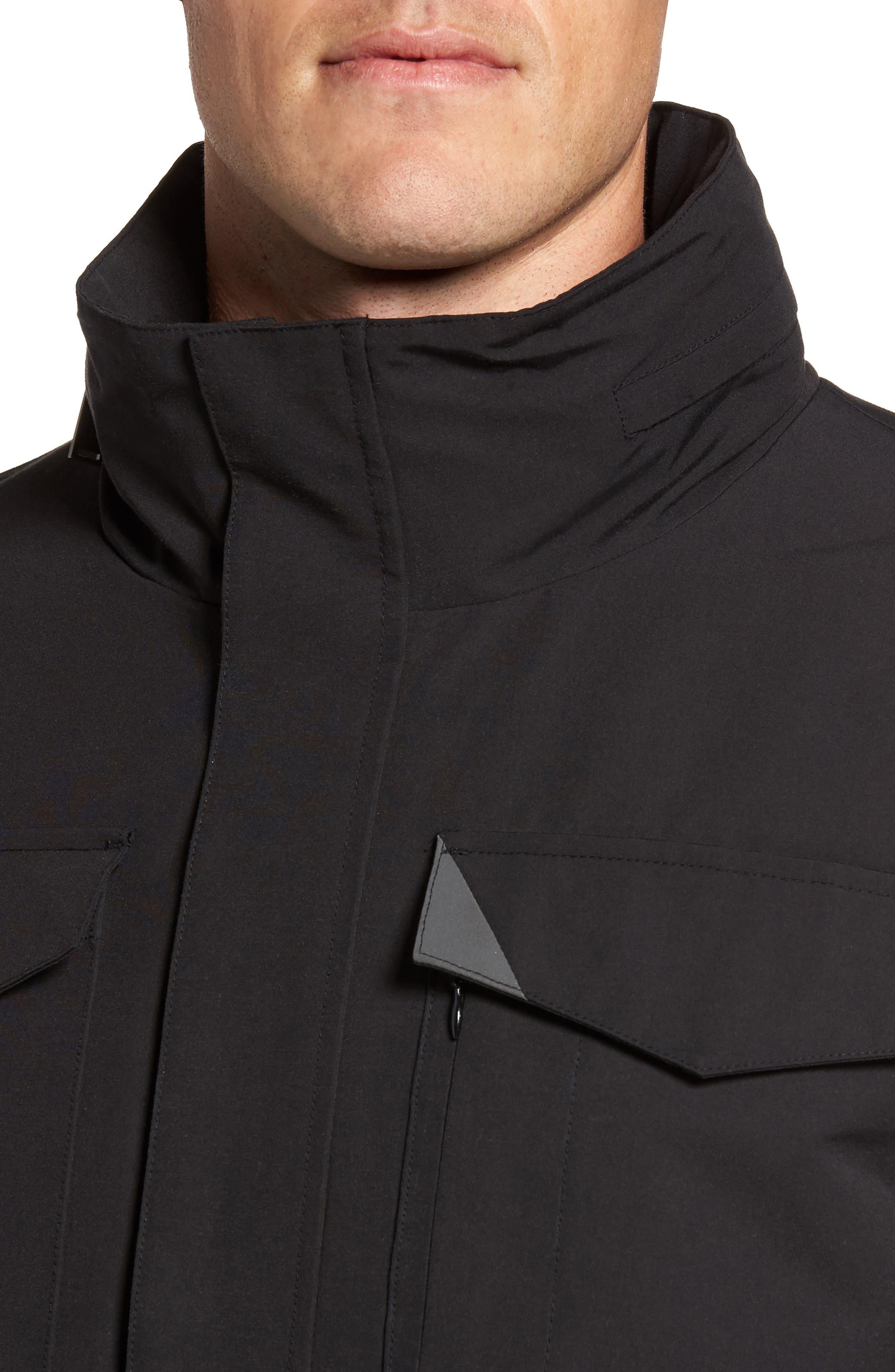 Clyde Hill Waterproof Field Jacket,                             Alternate thumbnail 4, color,                             Black