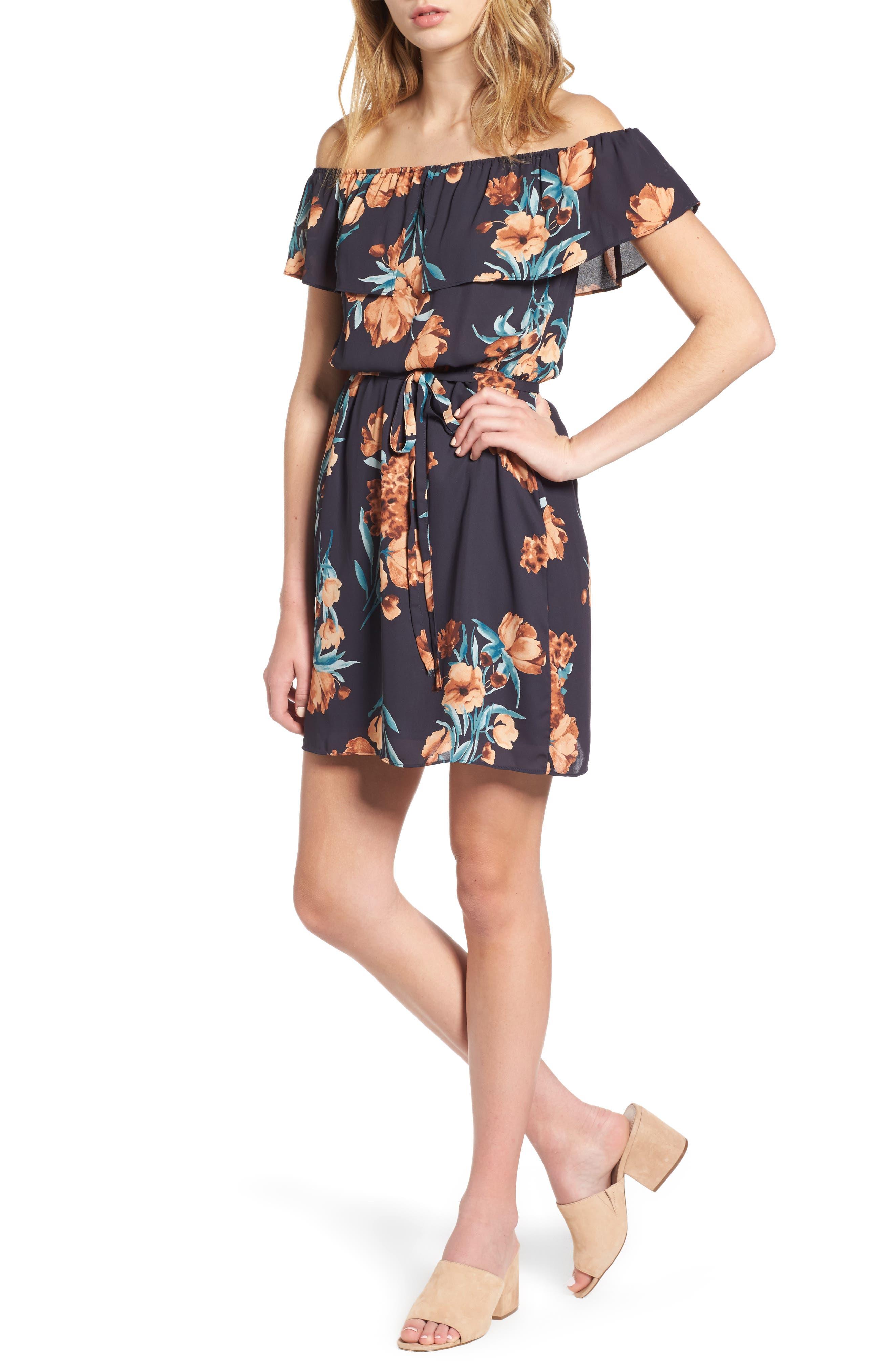 EVERLY Floral Off the Shoulder Dress