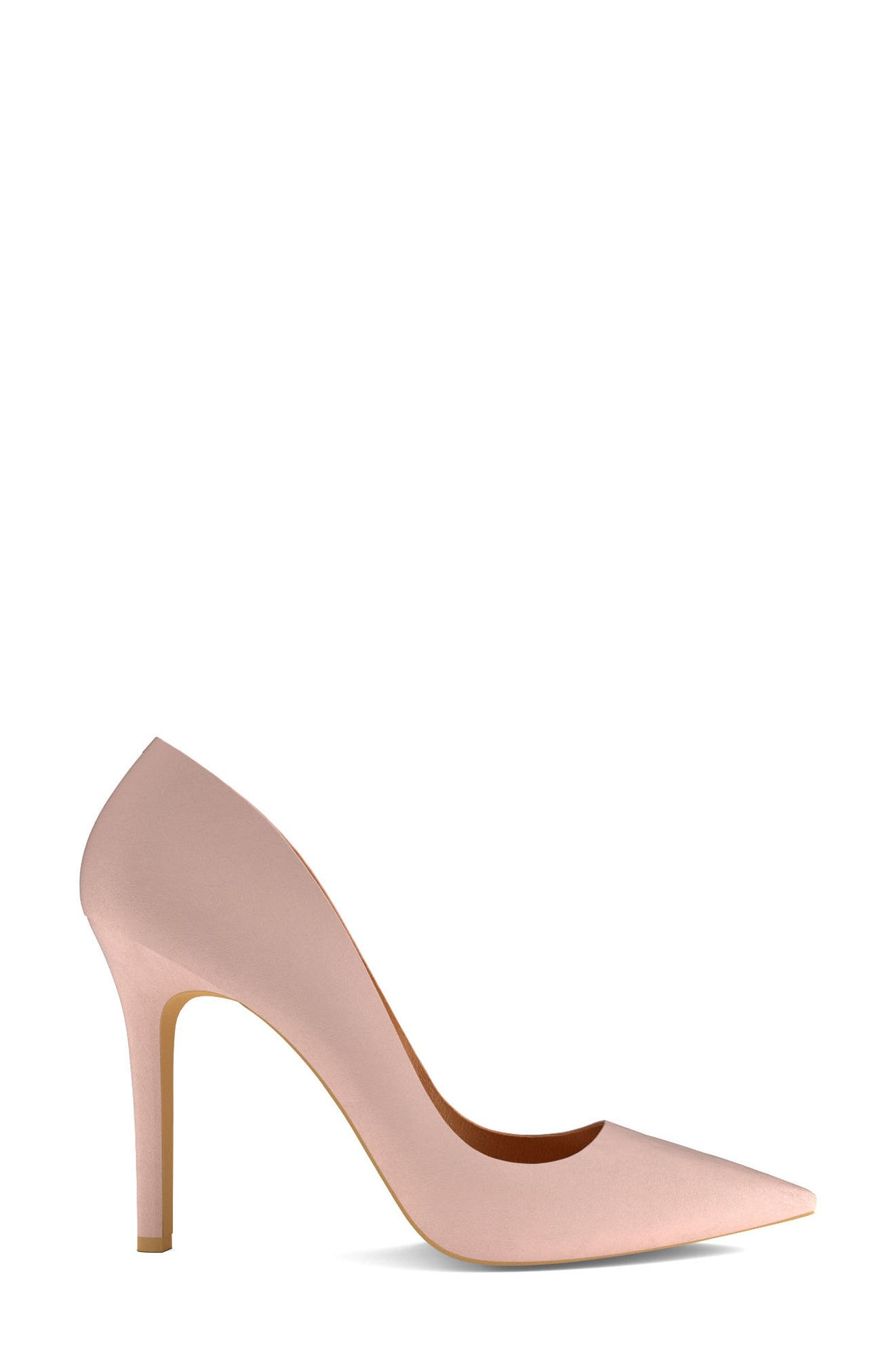 Pointy Toe Pump,                             Alternate thumbnail 3, color,                             Blush Nude Leather