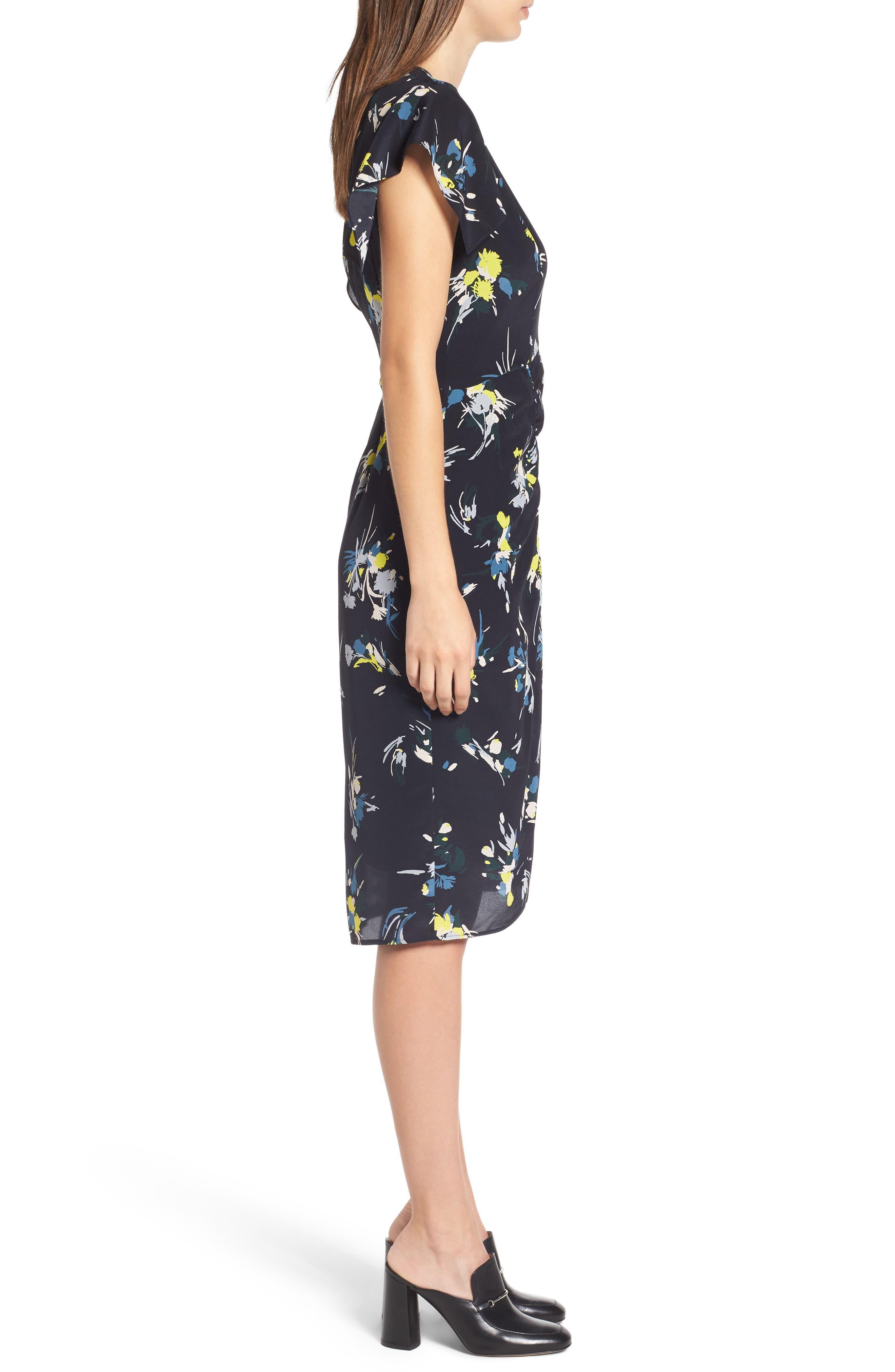 Print Silk Dress,                             Alternate thumbnail 6, color,                             Navy Night Marlow Floral