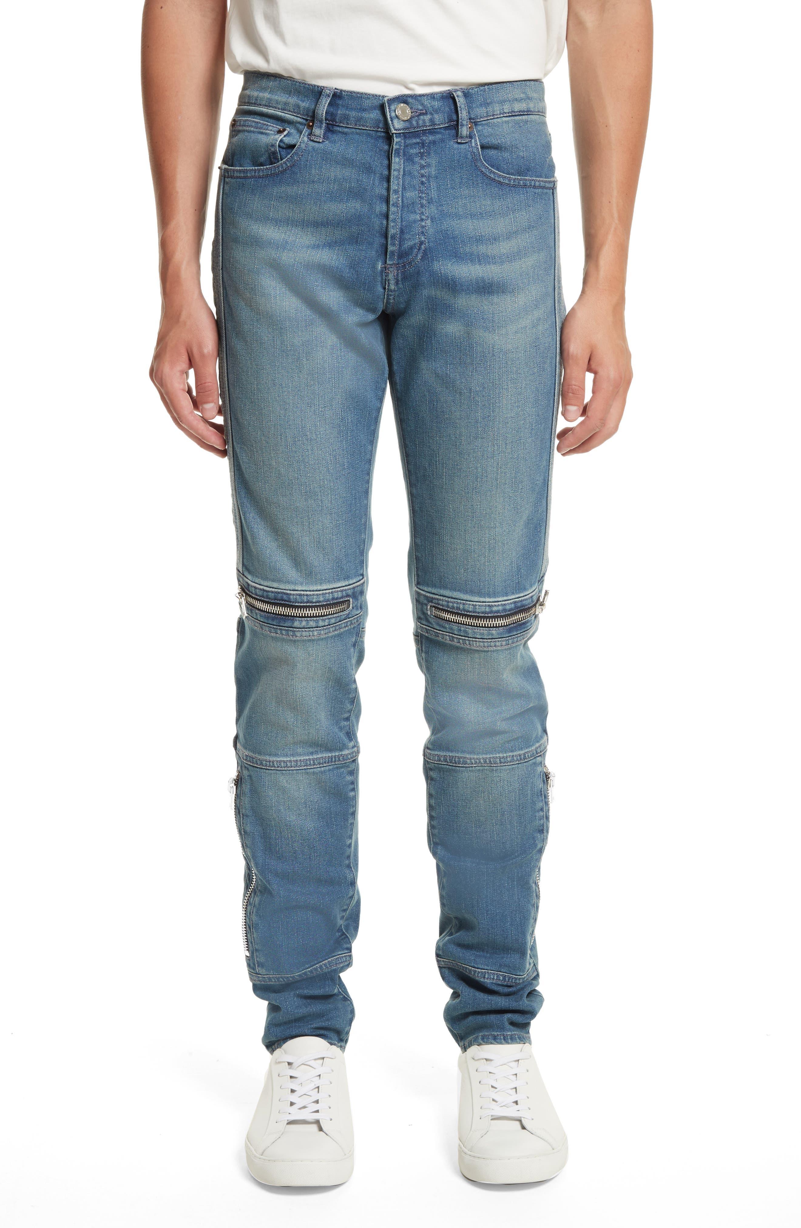 Zip Detail Biker Jeans,                         Main,                         color, Light Blue