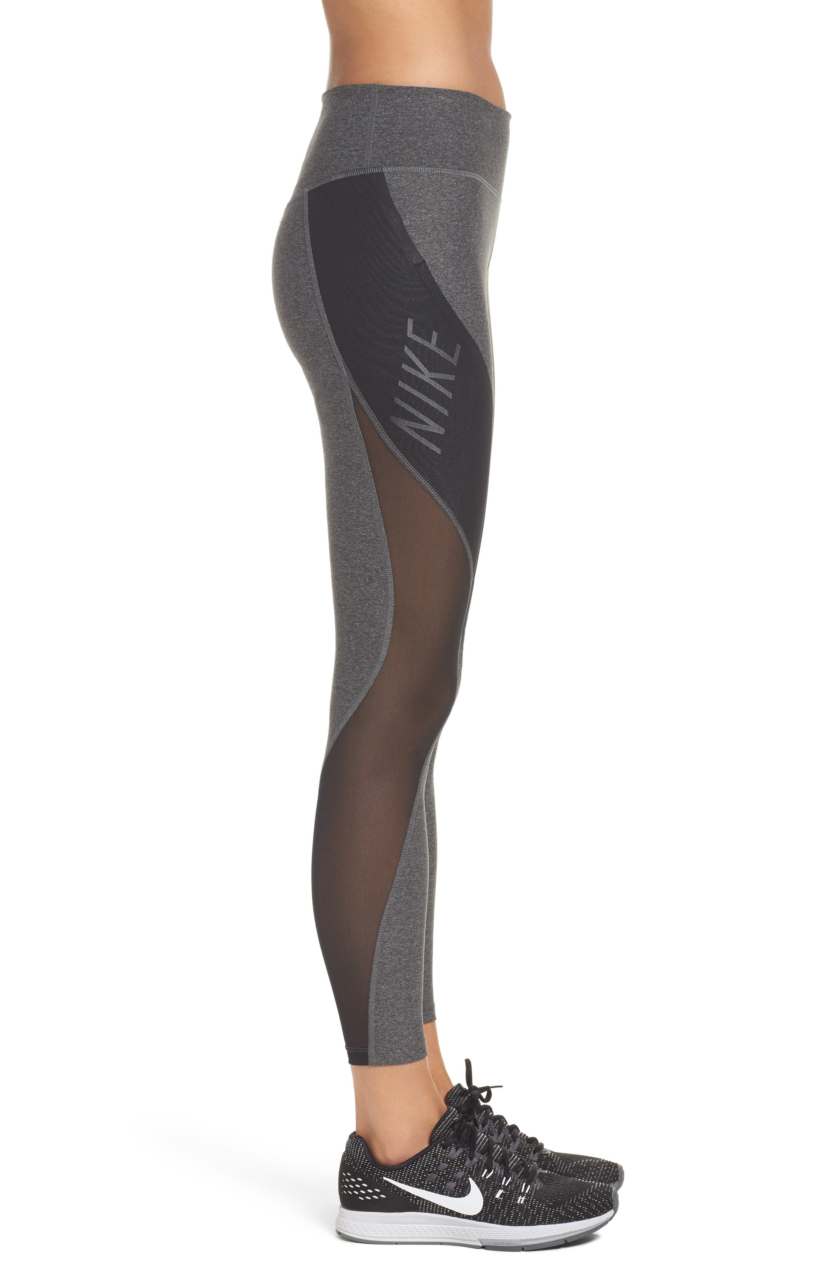 Power Legend Training Tights,                             Alternate thumbnail 3, color,                             Charcoal Heather/ Black/ White
