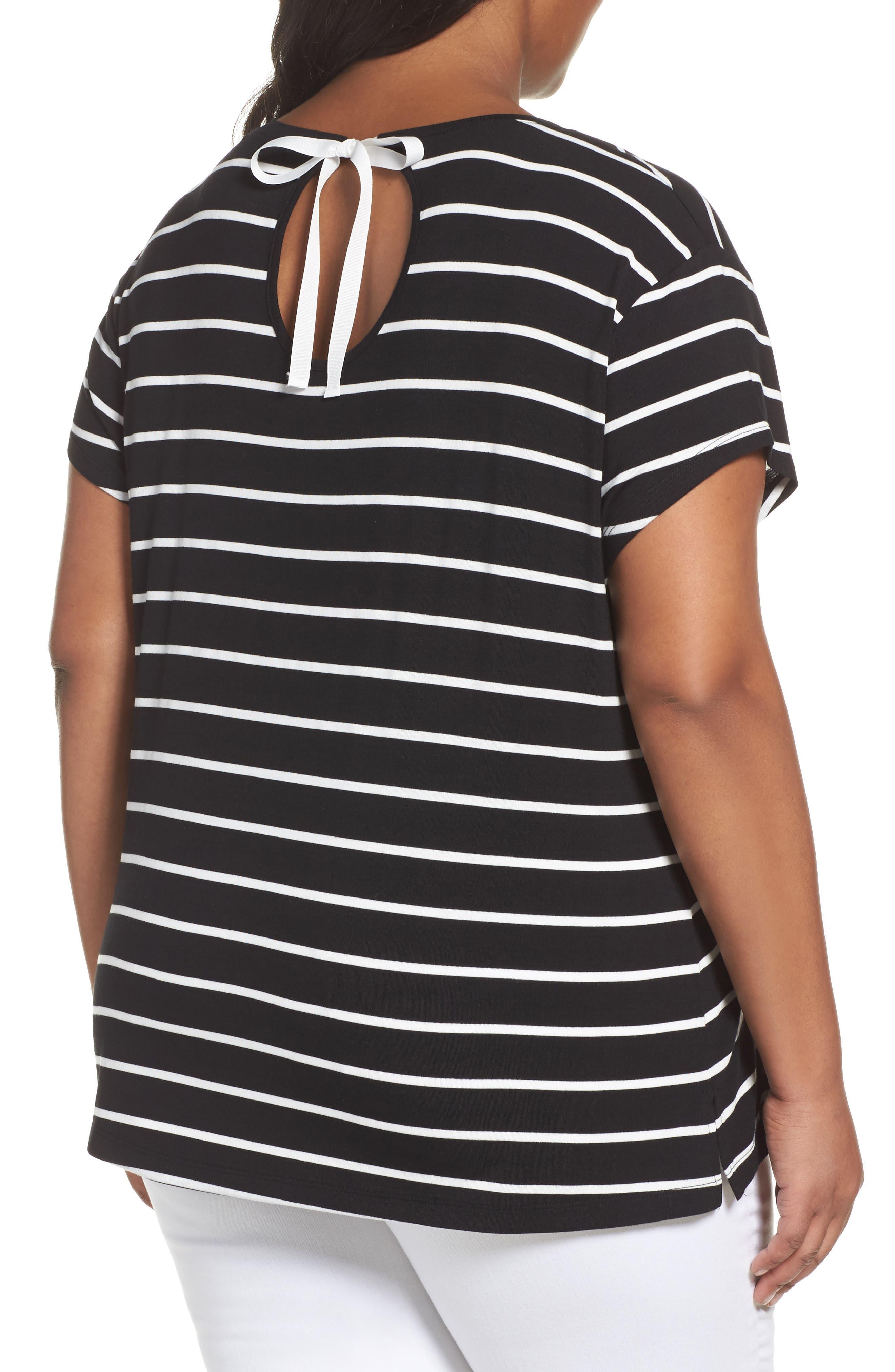 Alternate Image 2  - Sejour Stripe Tie Back Tee (Plus Size)