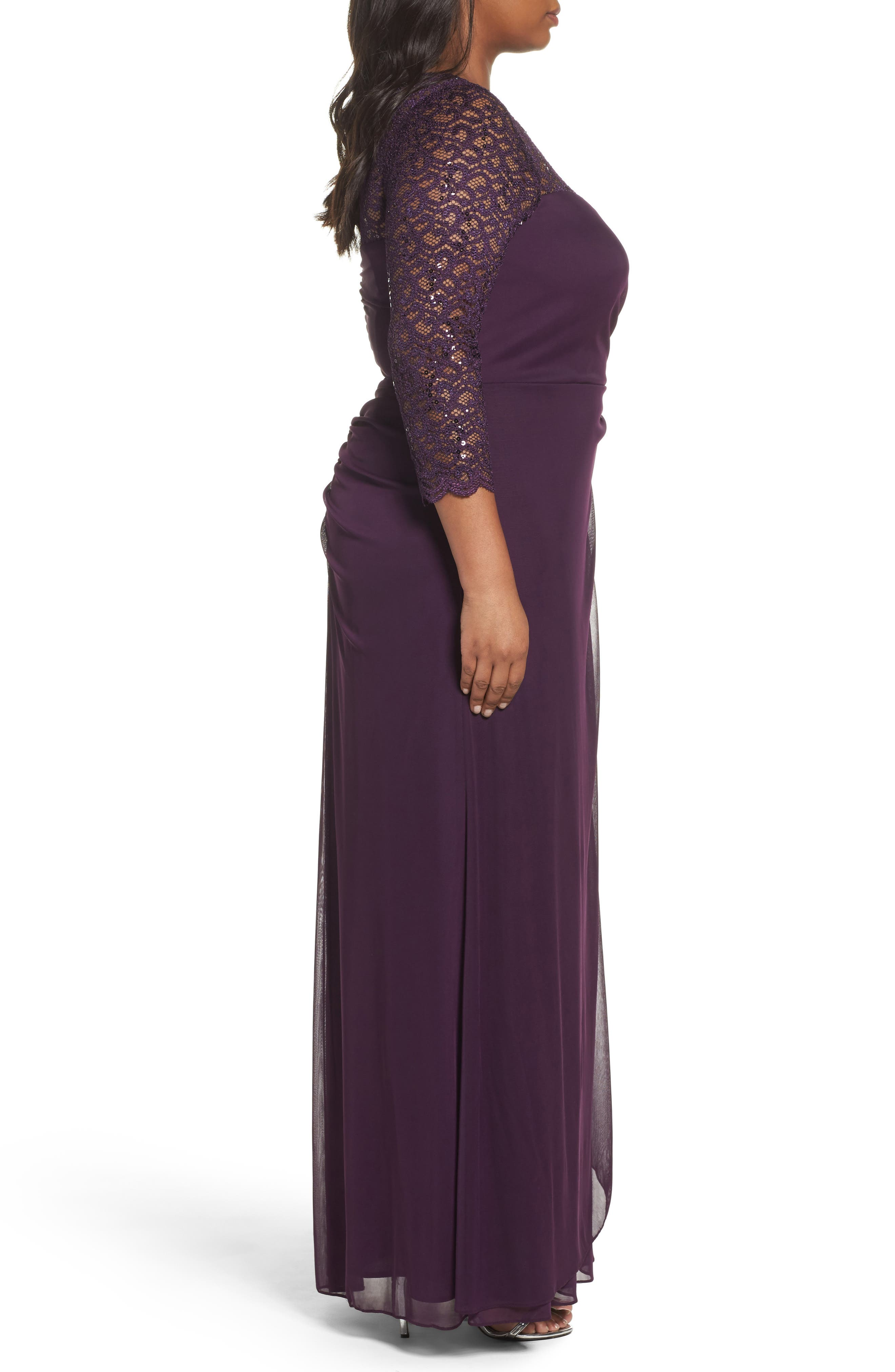 Lace & Matte Jersey Gown,                             Alternate thumbnail 3, color,                             Plum