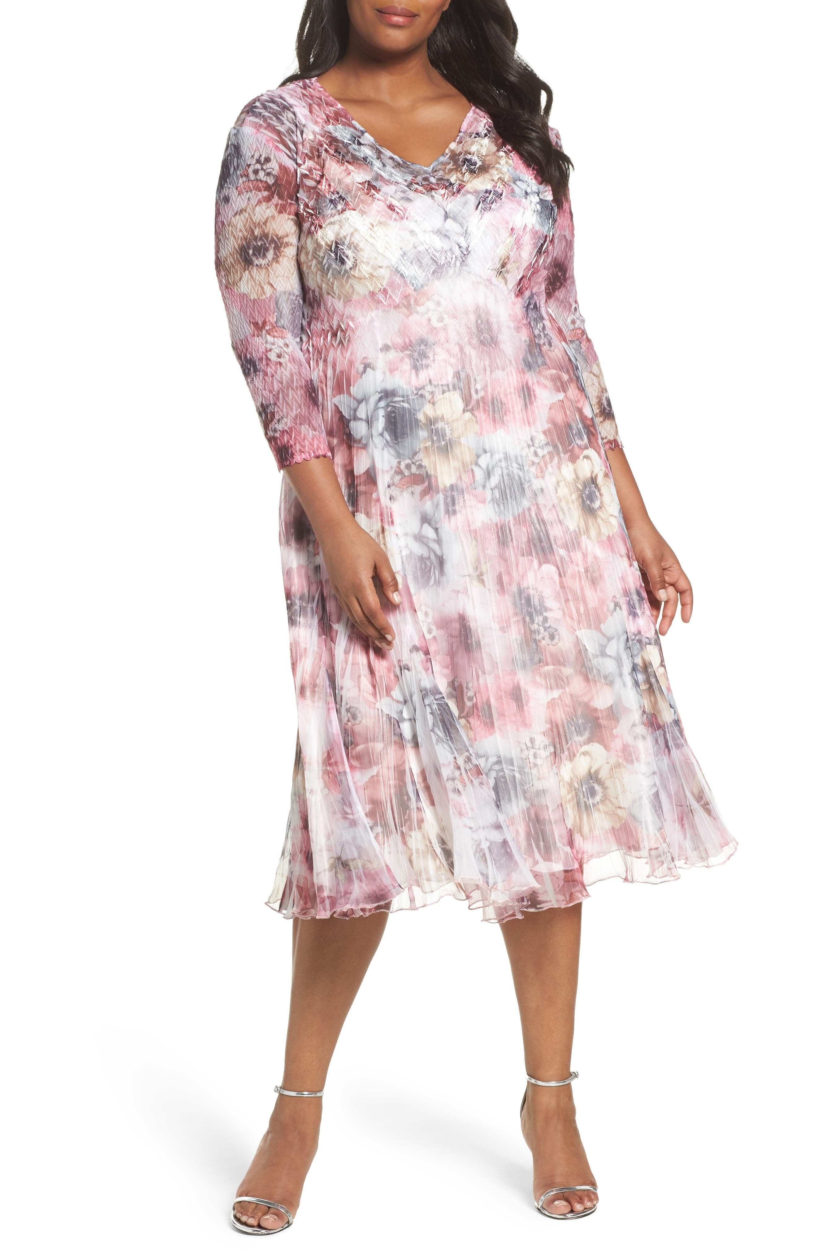 Komarov Print Charmeuse & Chiffon Dress (Plus Size)