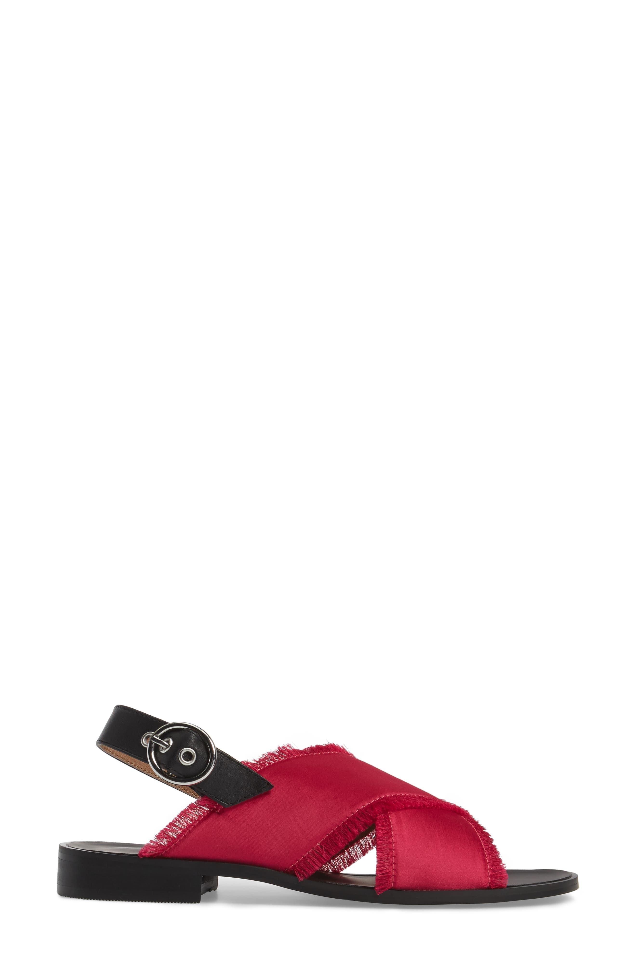 Endy Fringed Cross Strap Sandal,                             Alternate thumbnail 3, color,                             Fuchsia