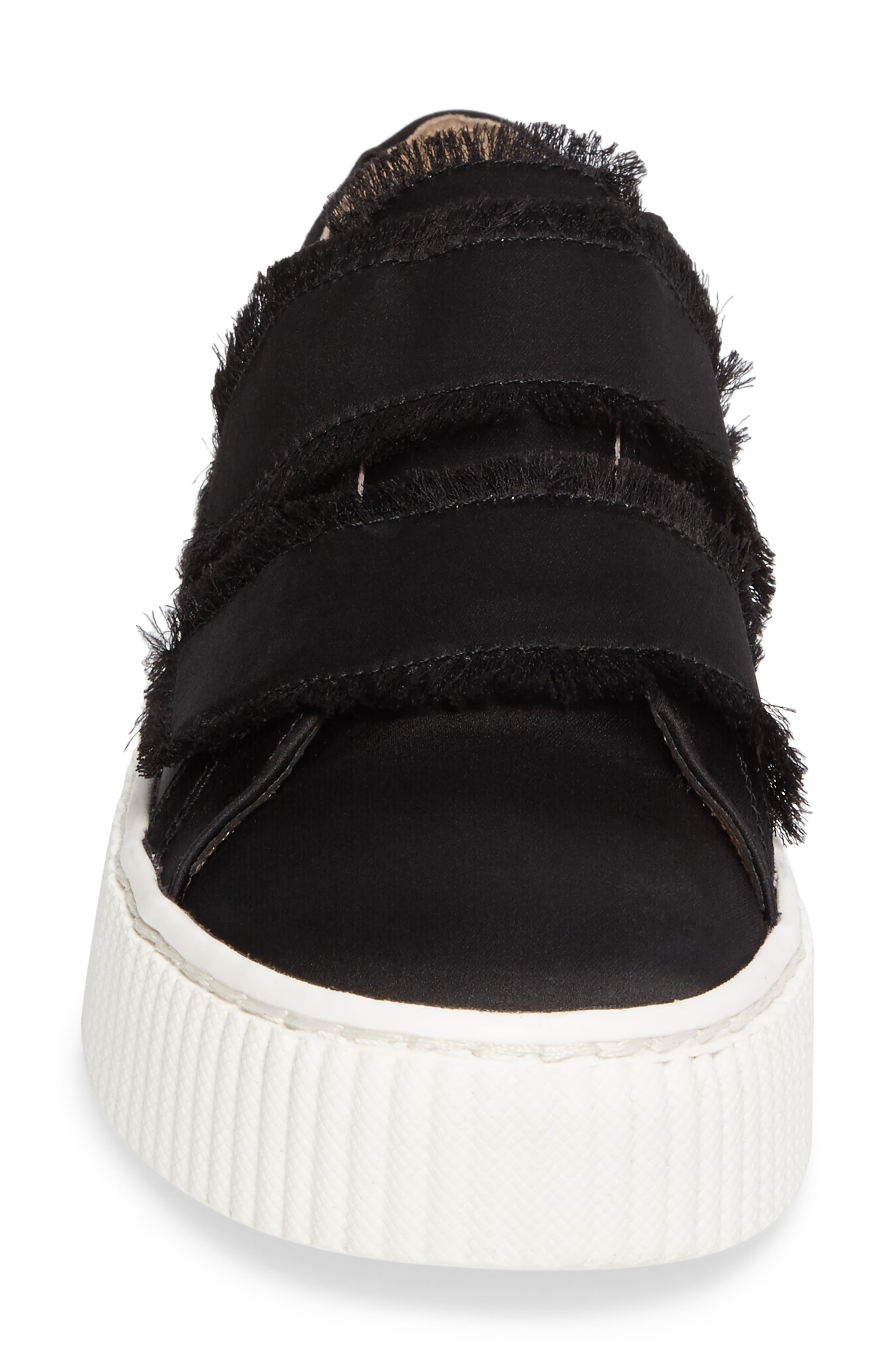 Elder Fringed Platform Sneaker,                             Alternate thumbnail 4, color,                             Black