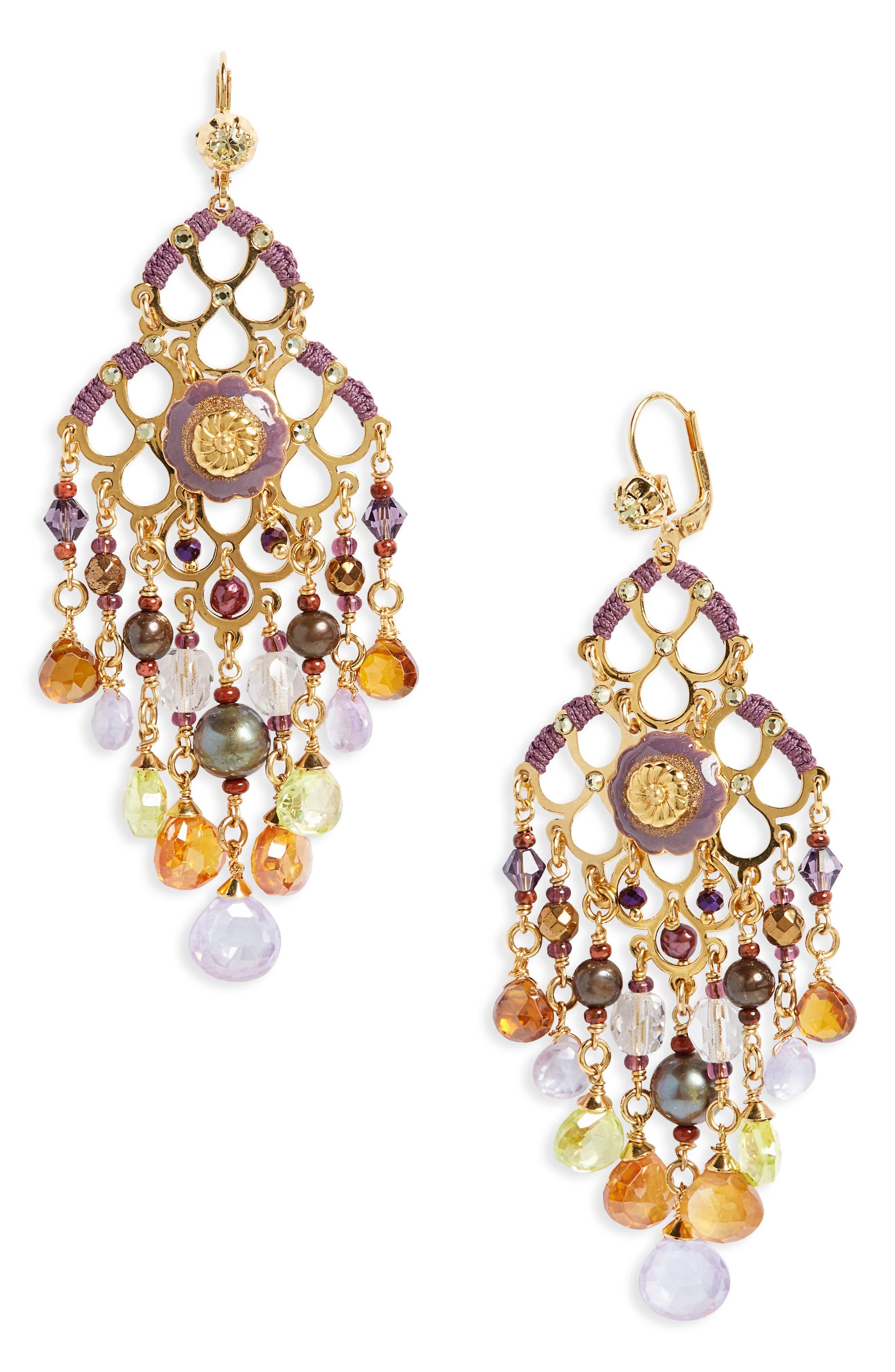 Reine Semiprecious Stone Chandelier Earrings,                         Main,                         color, Purple