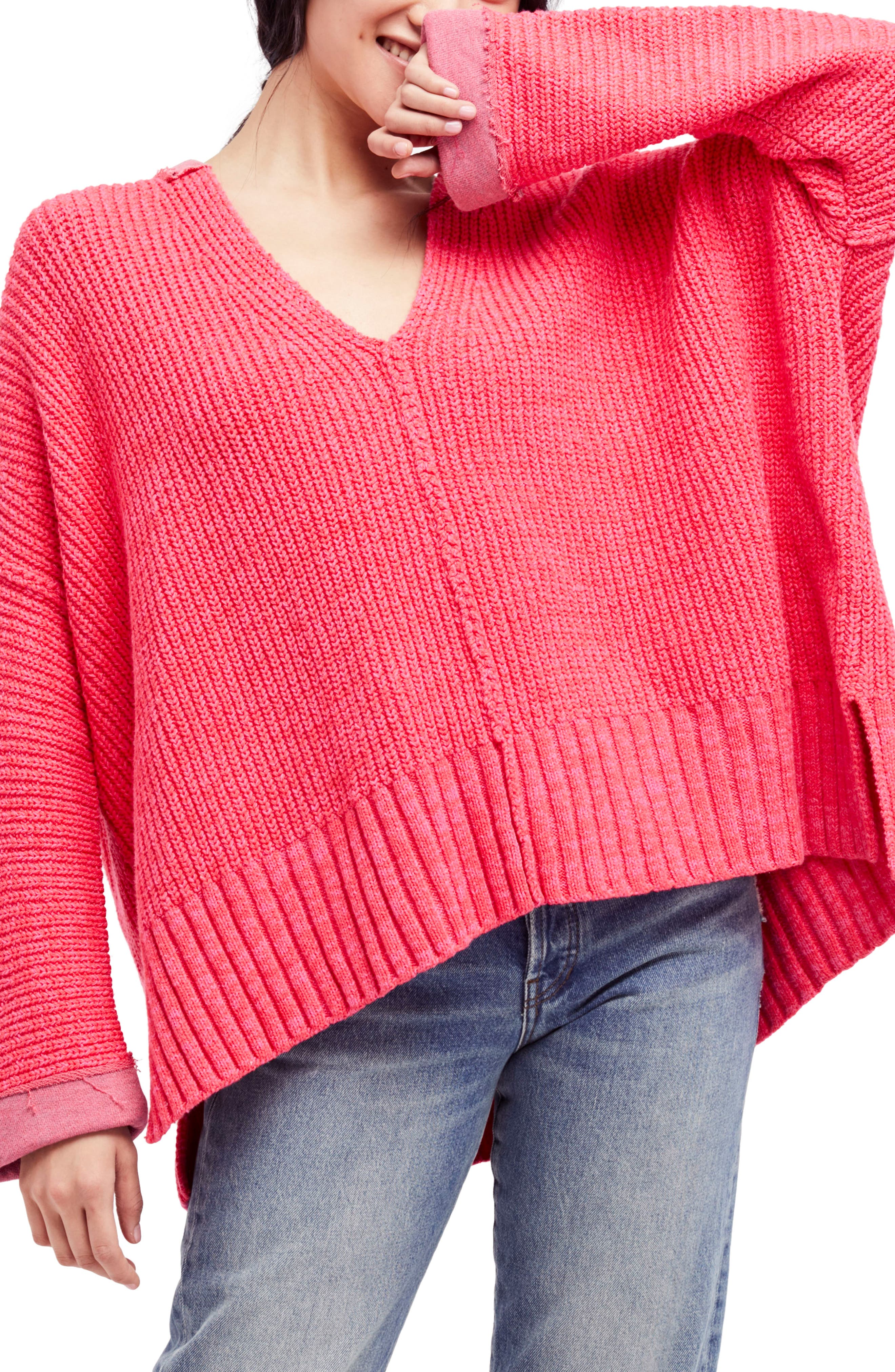 Take Over Me V-Neck Sweater,                         Main,                         color, Pink