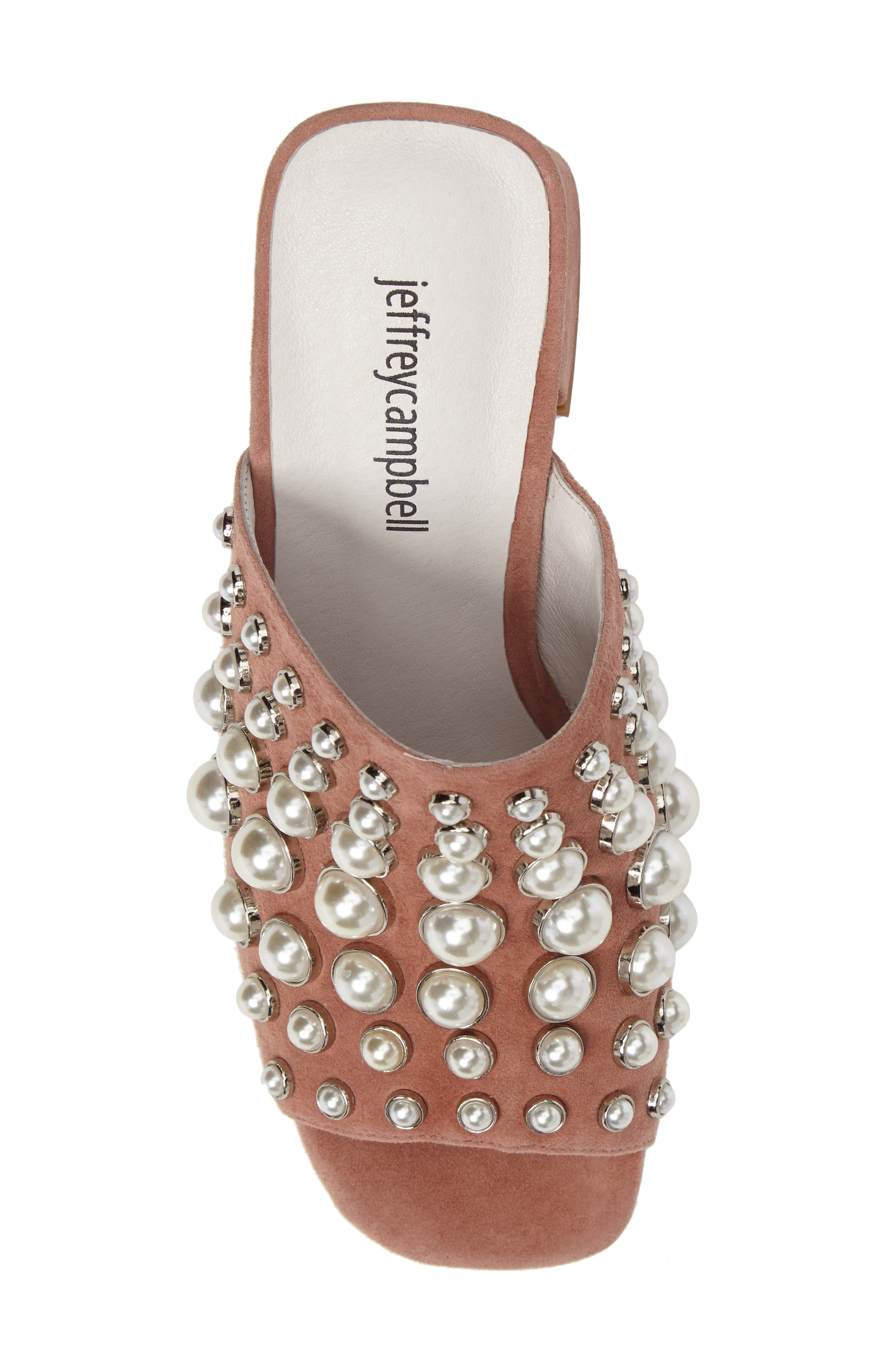 Perpetua Dome Stud Open-Toe Mule,                             Alternate thumbnail 5, color,                             Pink Suede Combo