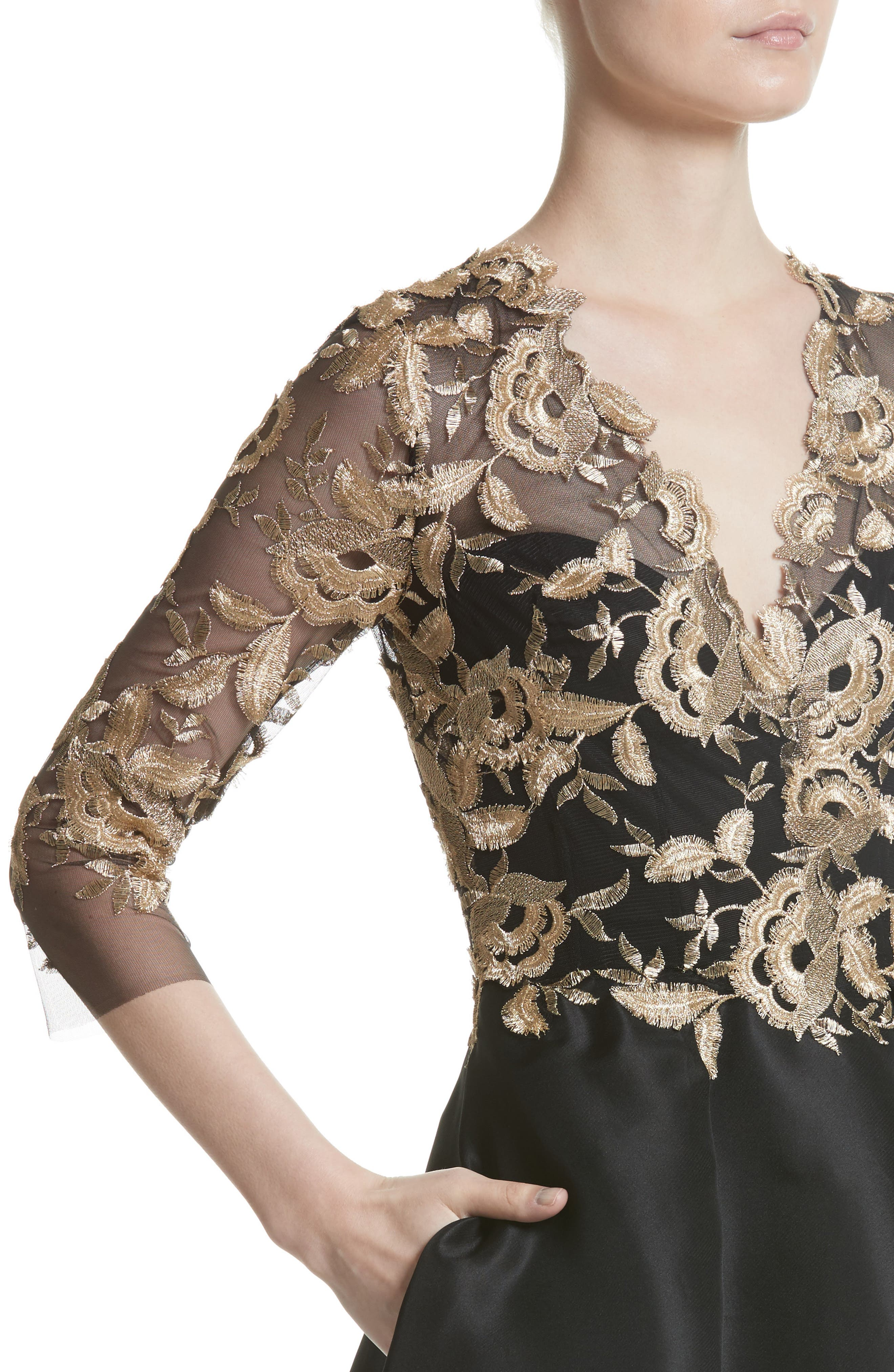 Embroidered Gazar Fit & Flare Dress,                             Alternate thumbnail 6, color,                             Noir/ Gold