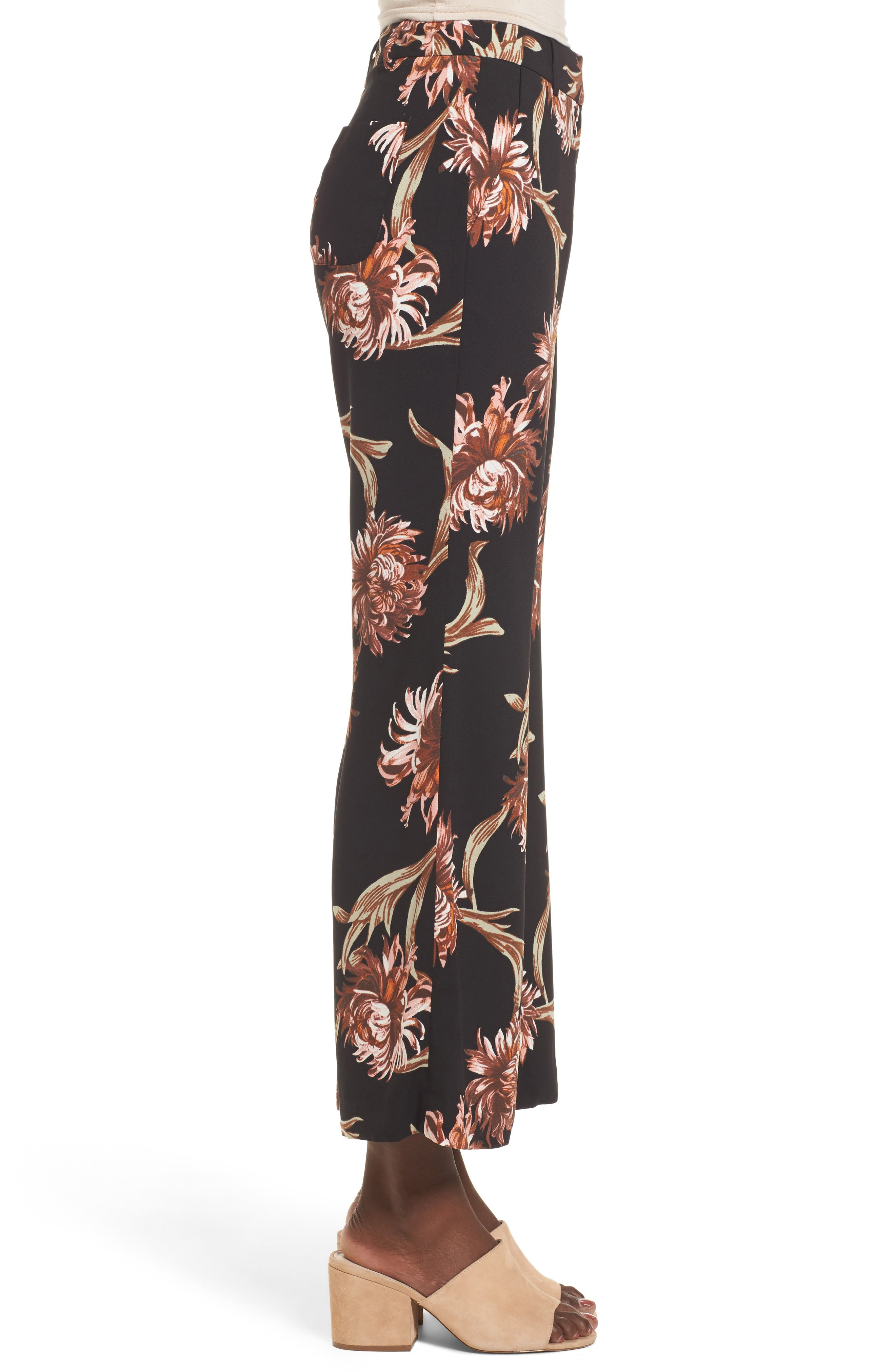 Printed Wide Leg Pants,                             Alternate thumbnail 3, color,                             Black Nouveau Floral