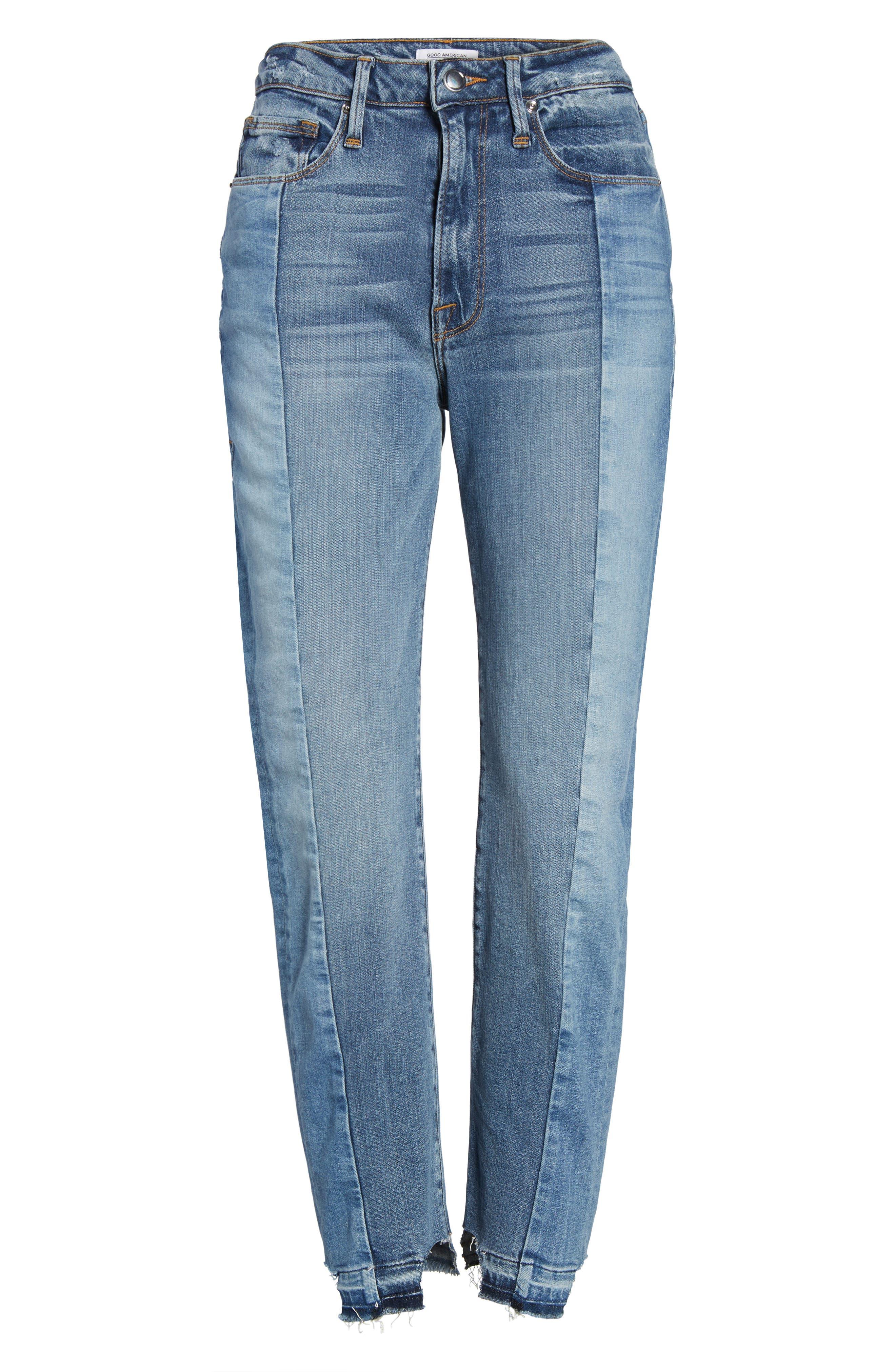 Alternate Image 6  - Good American Raw Hem High Waist Skinny Jeans (Blue 078) (Extended Sizes)