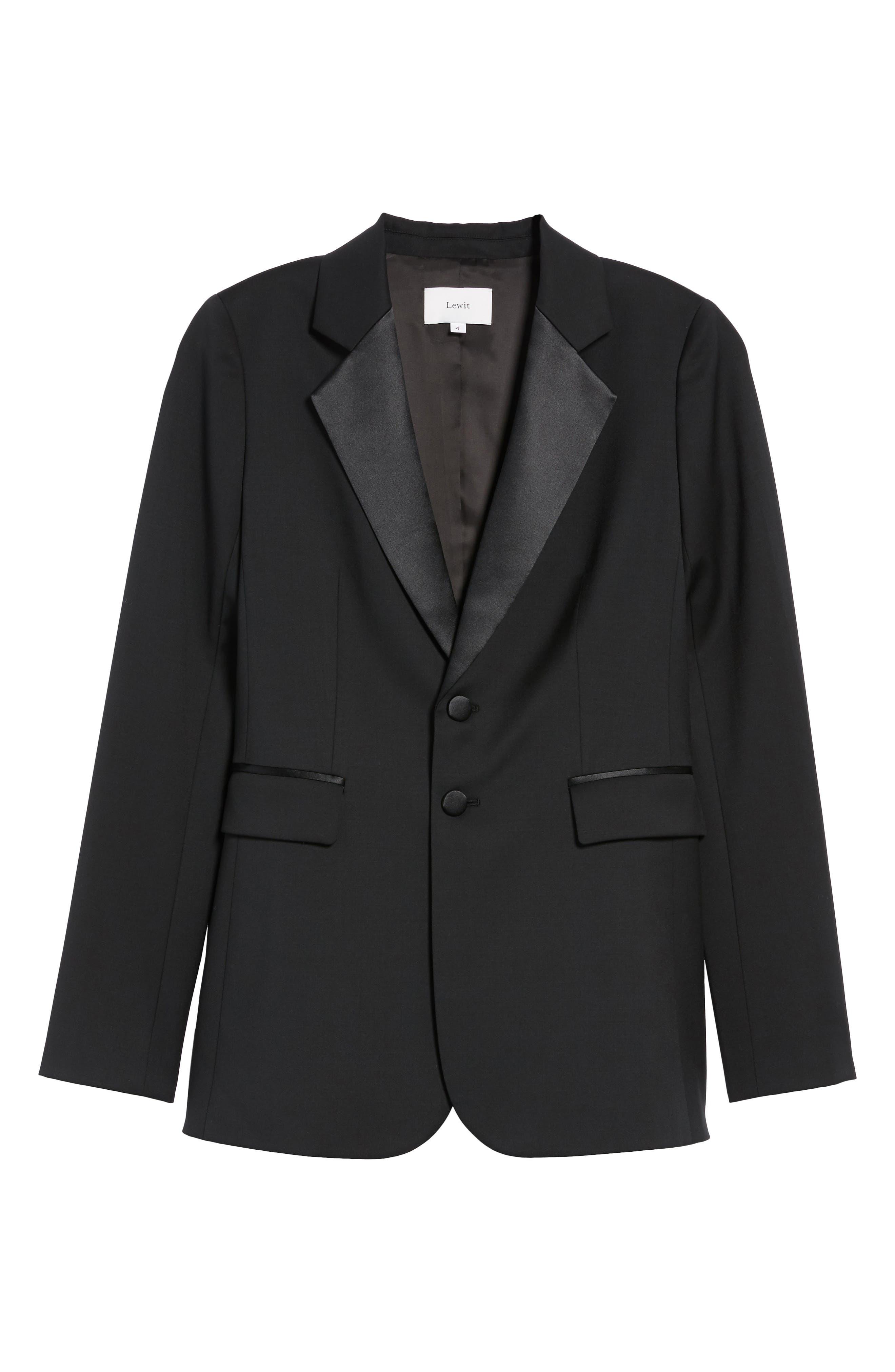 Tuxedo Detail Wool Suit Jacket,                             Alternate thumbnail 7, color,                             Black