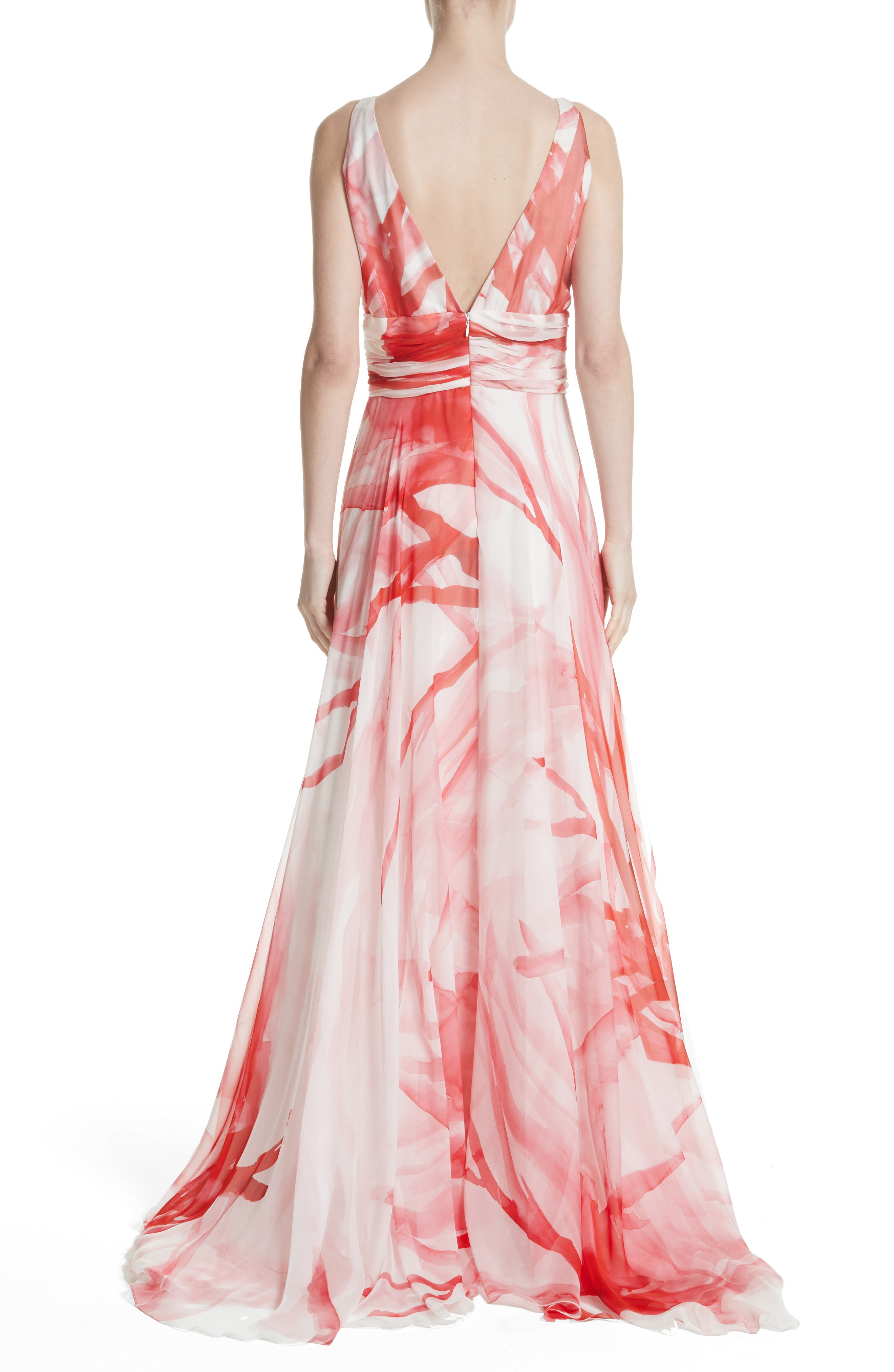 Alternate Image 2  - Naeem Khan Print Silk Chiffon Gown