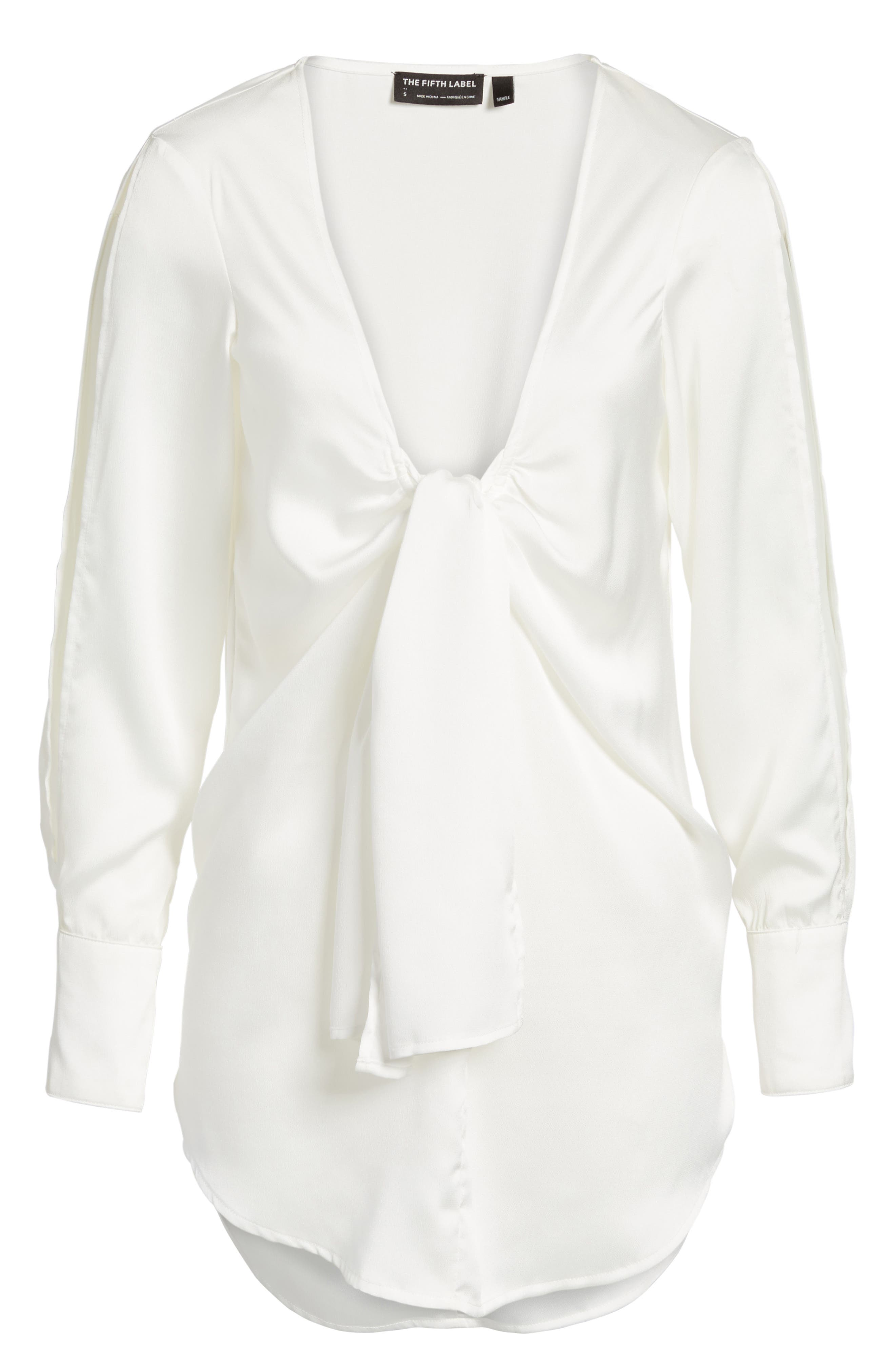 Knotted Hammered Satin Blouse,                             Alternate thumbnail 7, color,                             Ivory