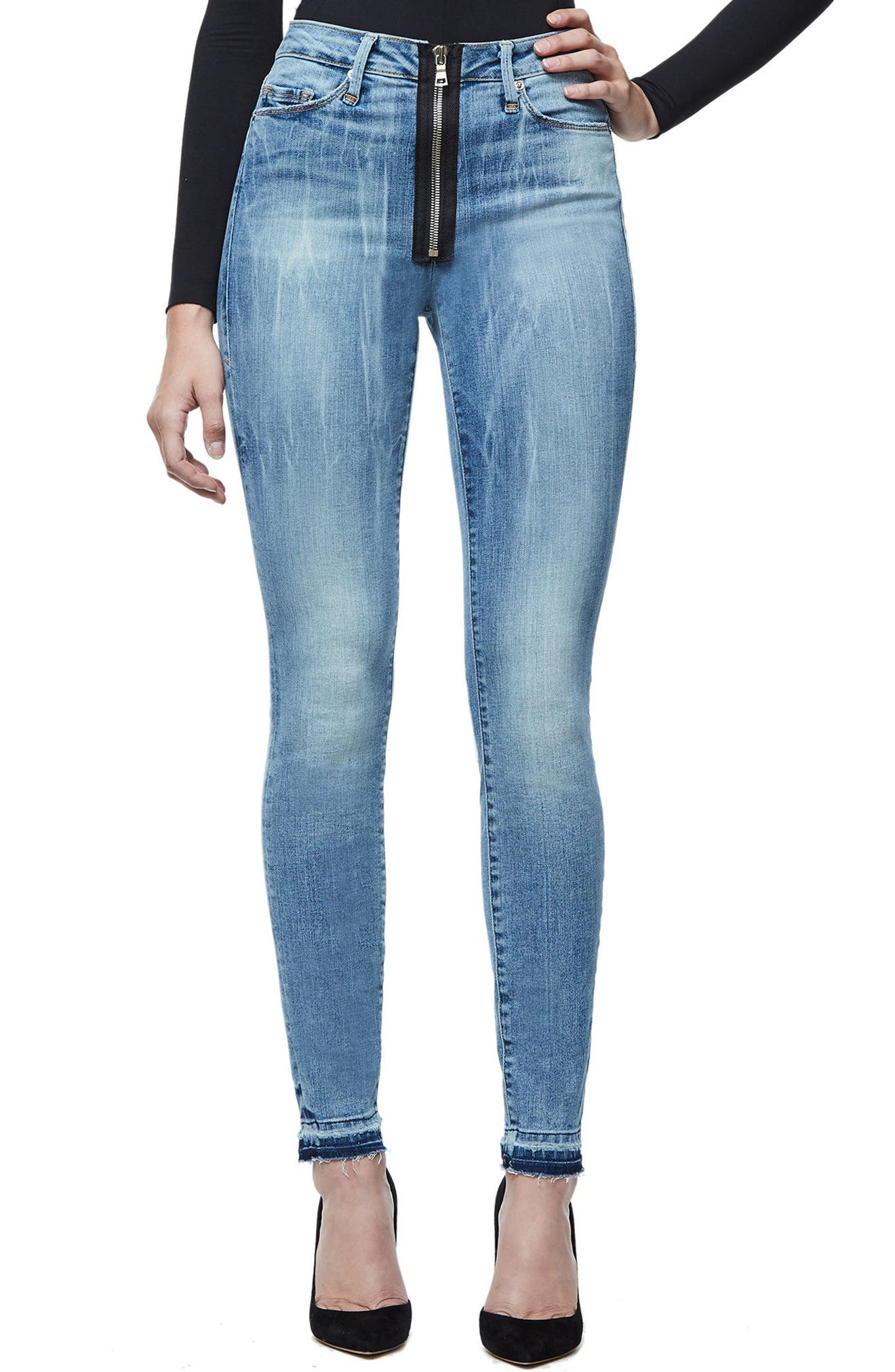 Main Image - Good American Good Waist Exposed Zip Skinny Jeans (Blue 075) (Extended Sizes)
