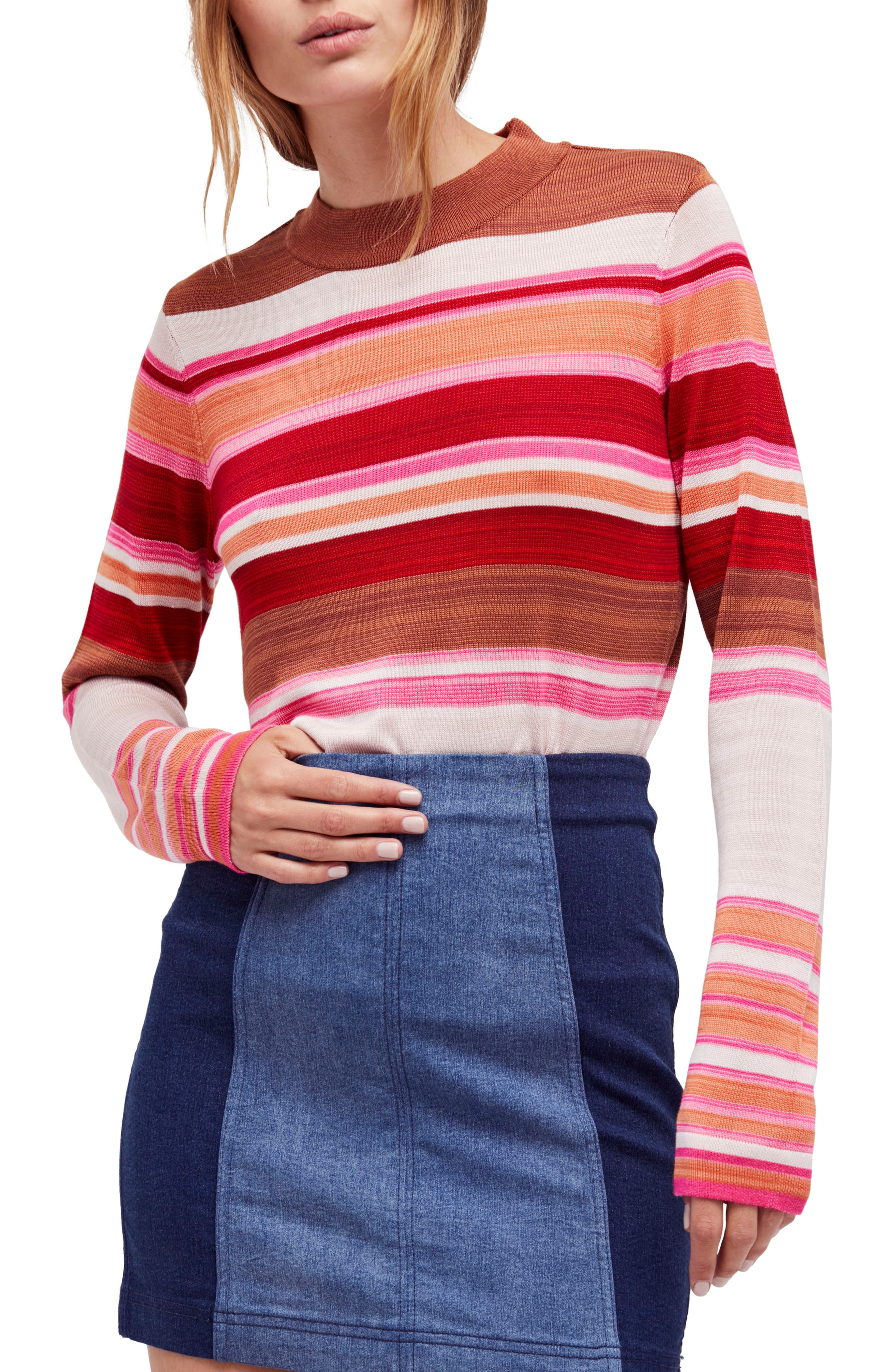 Show Off Your Stripes Sweater,                         Main,                         color, Red