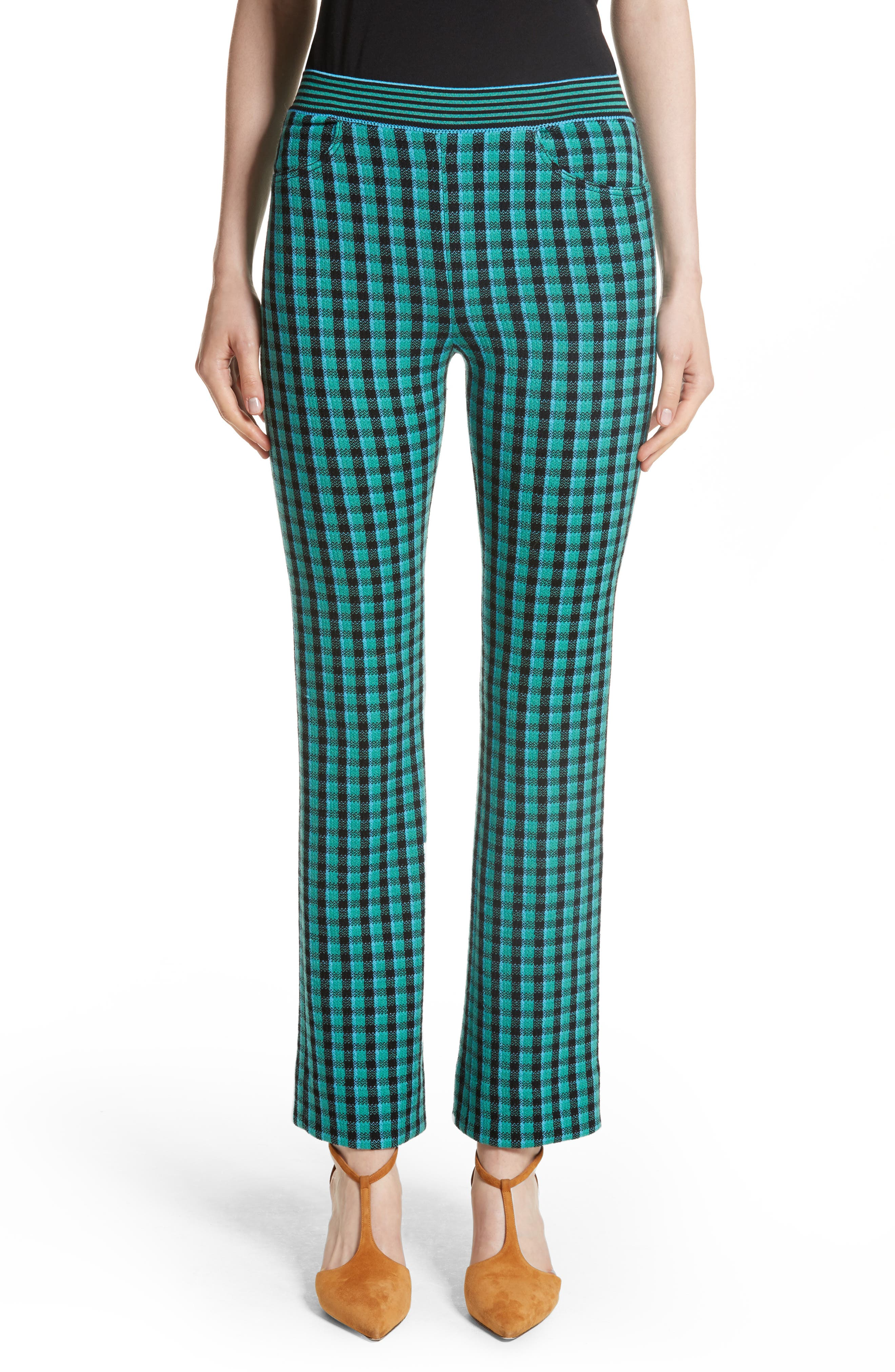 Plaid Stretch Wool Knit Pants,                         Main,                         color, Green/ Blue