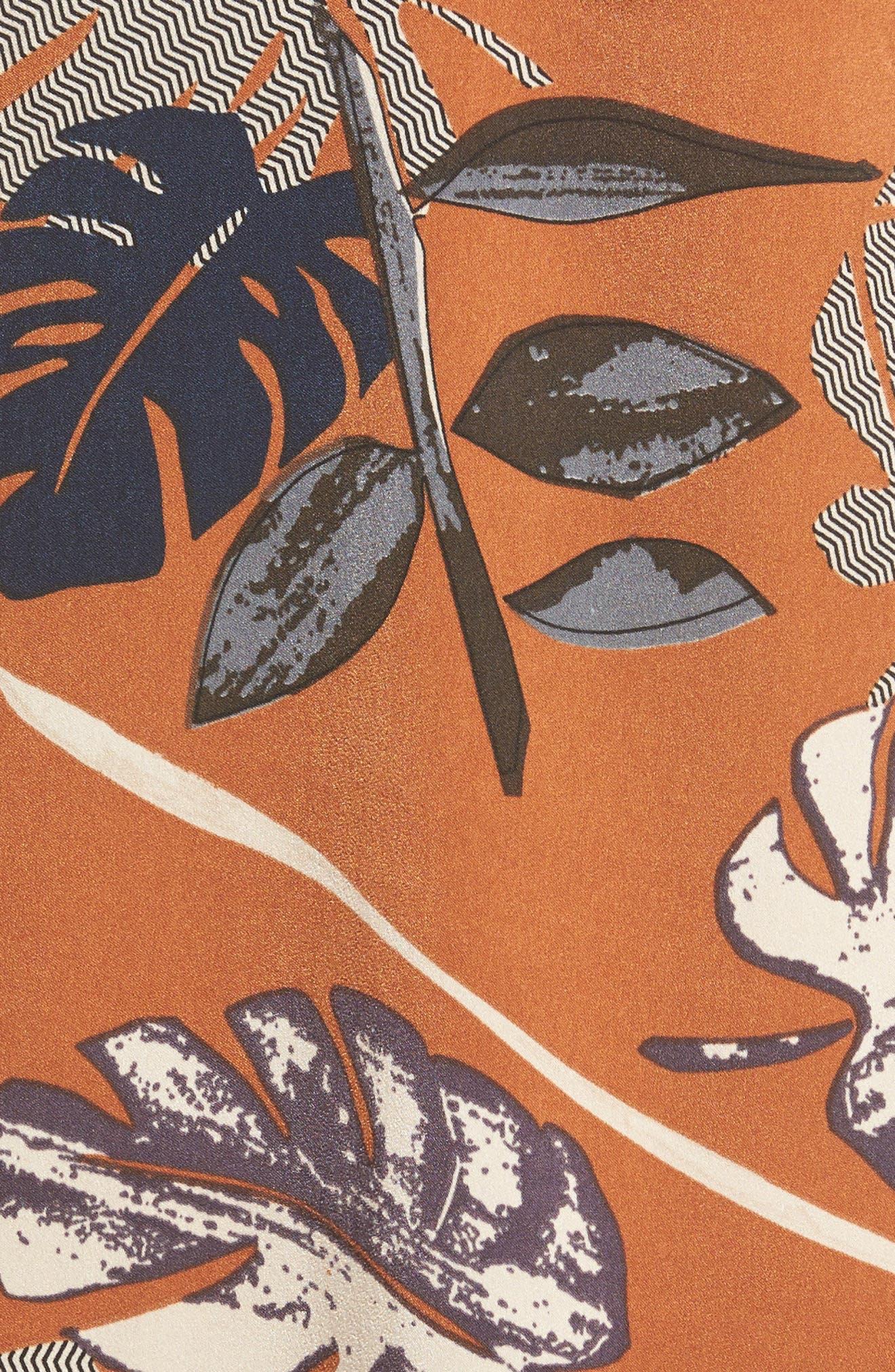 Square Neck Slipdress,                             Alternate thumbnail 5, color,                             Rust Leaf Print