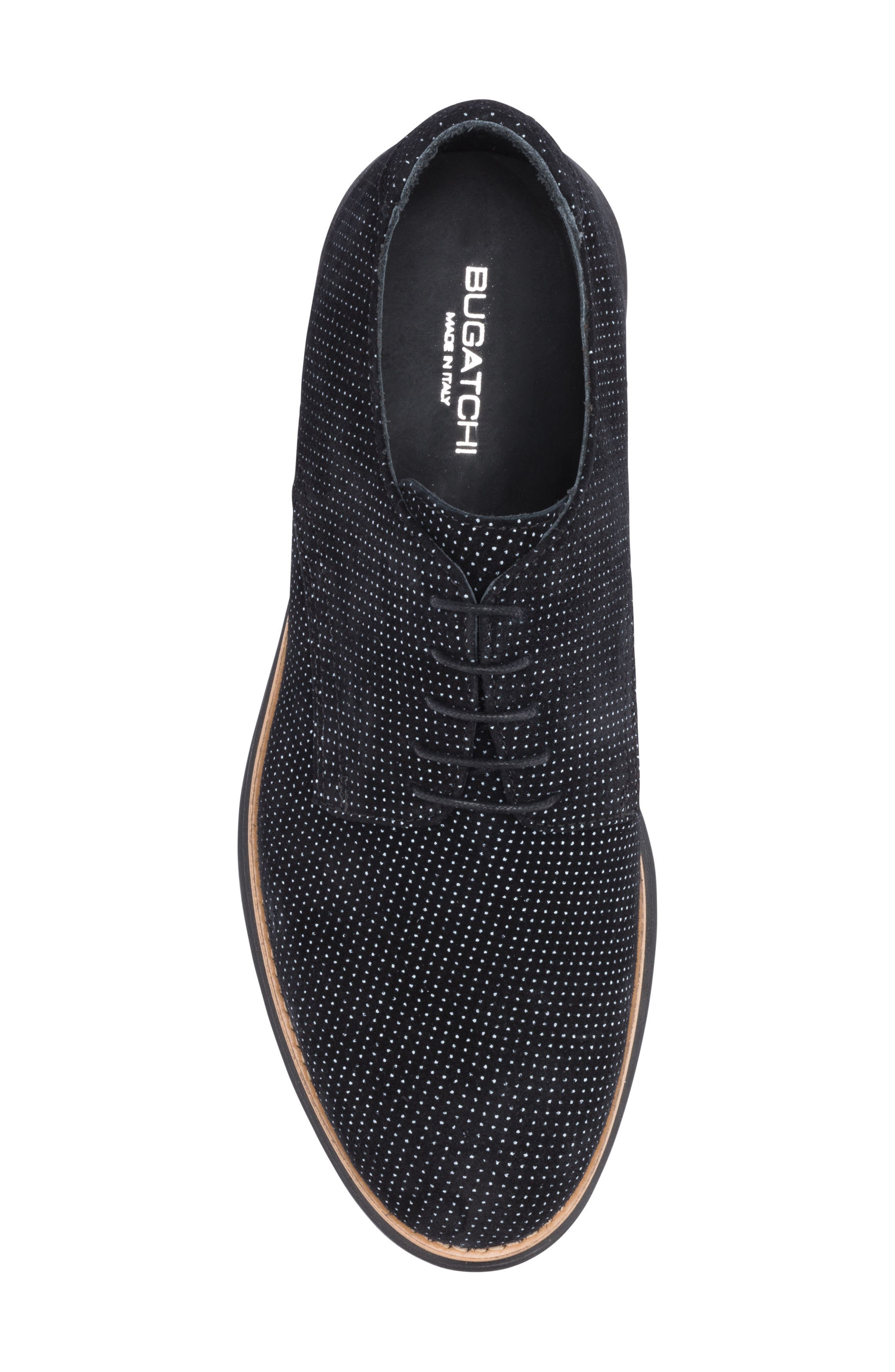 Manarola Dot Pattern Derby,                             Alternate thumbnail 5, color,                             Nero Suede