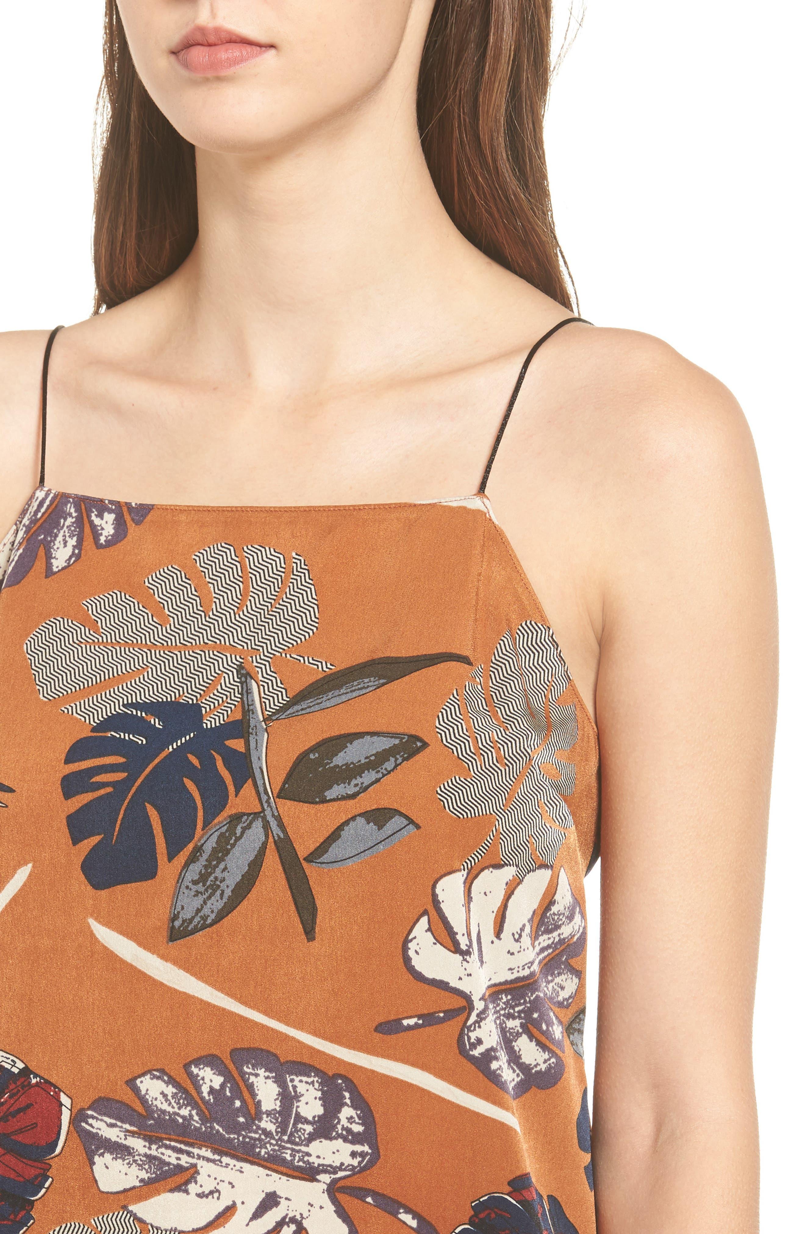 Square Neck Slipdress,                             Alternate thumbnail 4, color,                             Rust Leaf Print