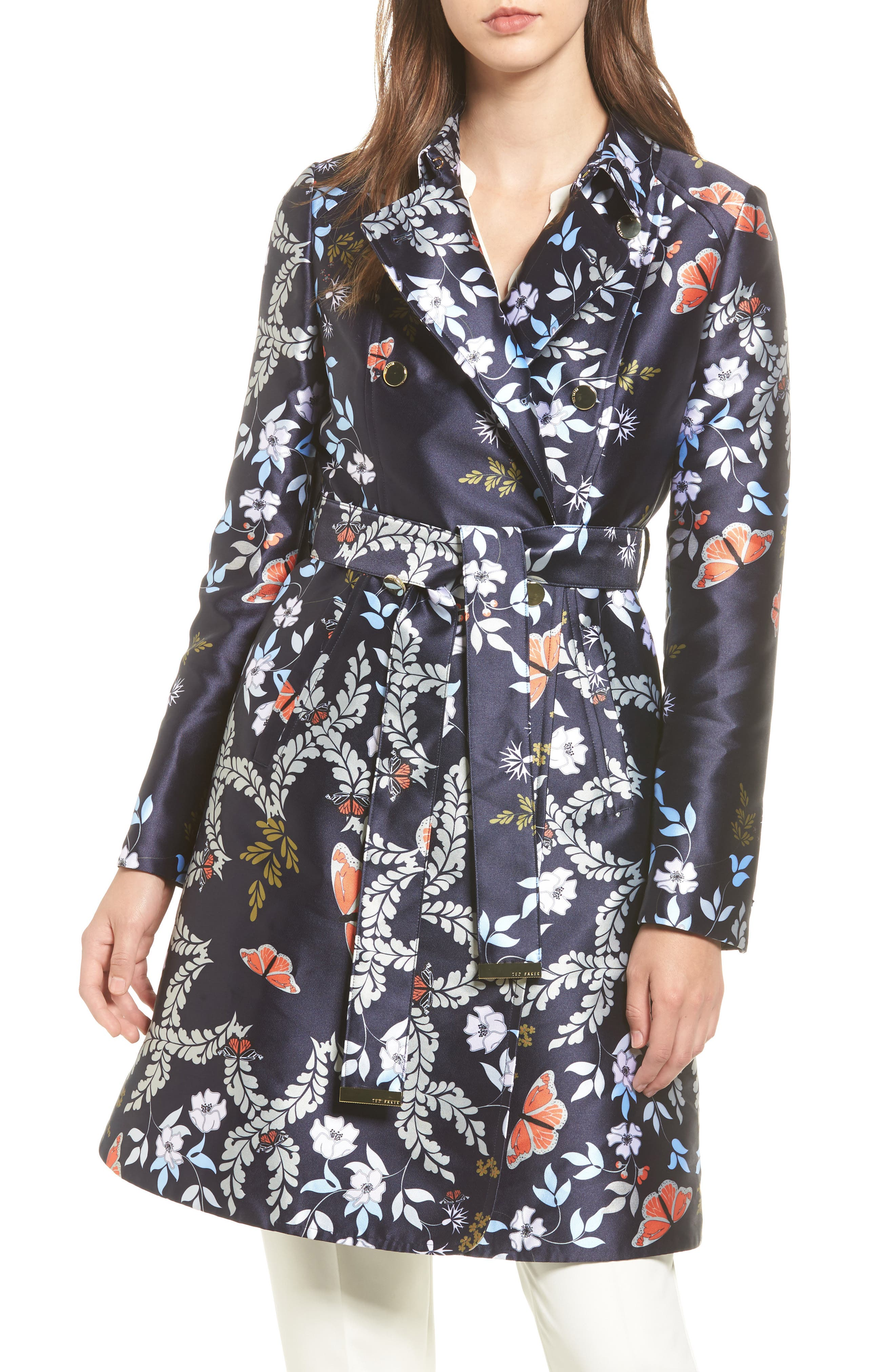 Main Image - Ted Baker London Kyoto Gardens Double Breasted Coat