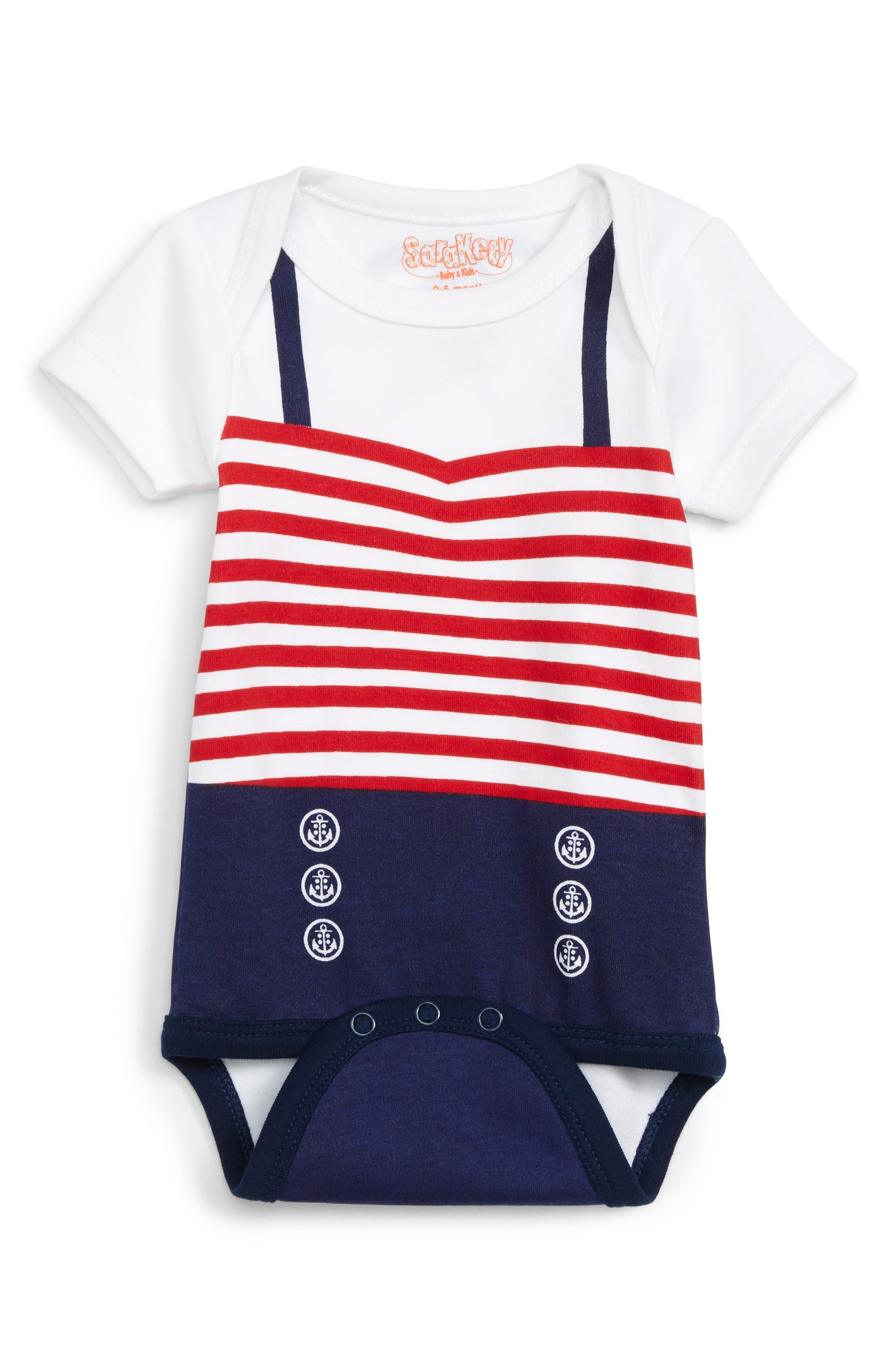 Main Image - Sara Kety Baby & Kids Stripe Bodysuit (Baby Girls)