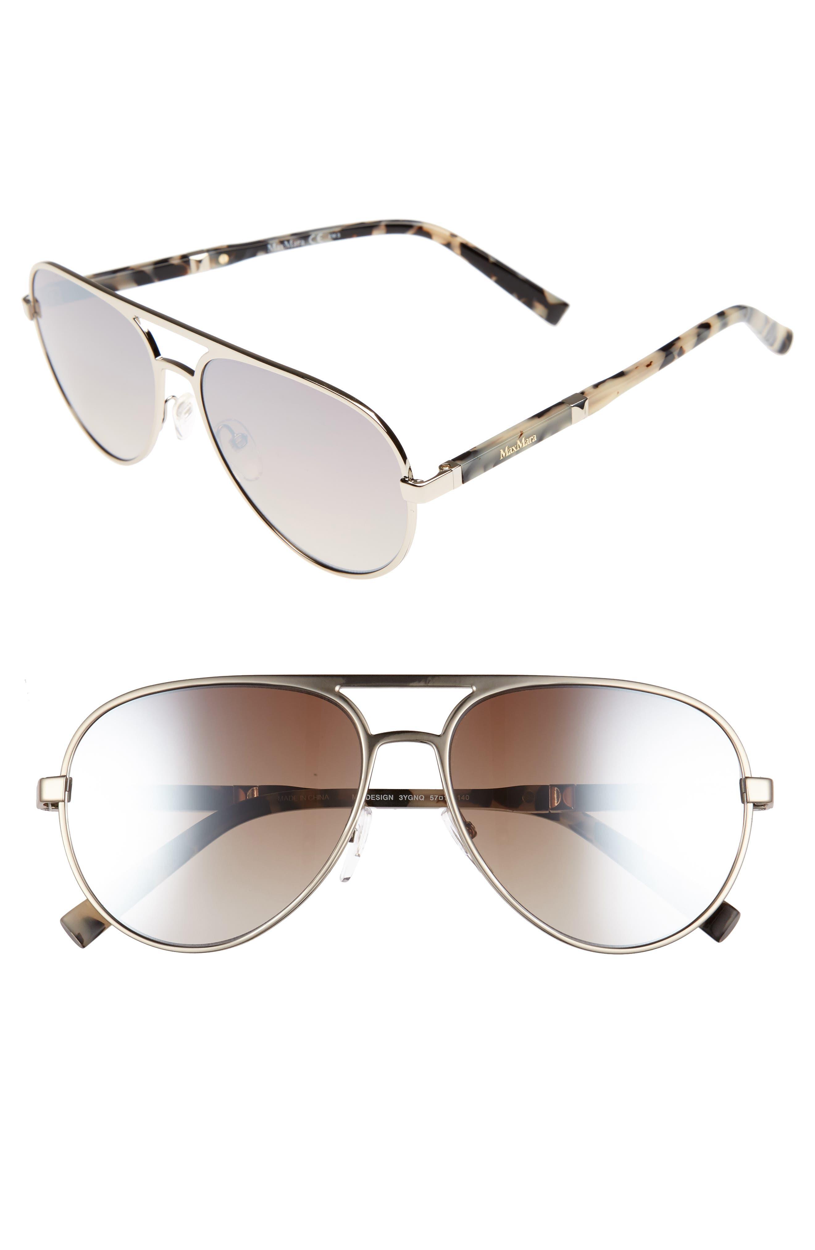 MAX MARA Desigs 57mm Gradient Aviator Sunglasses