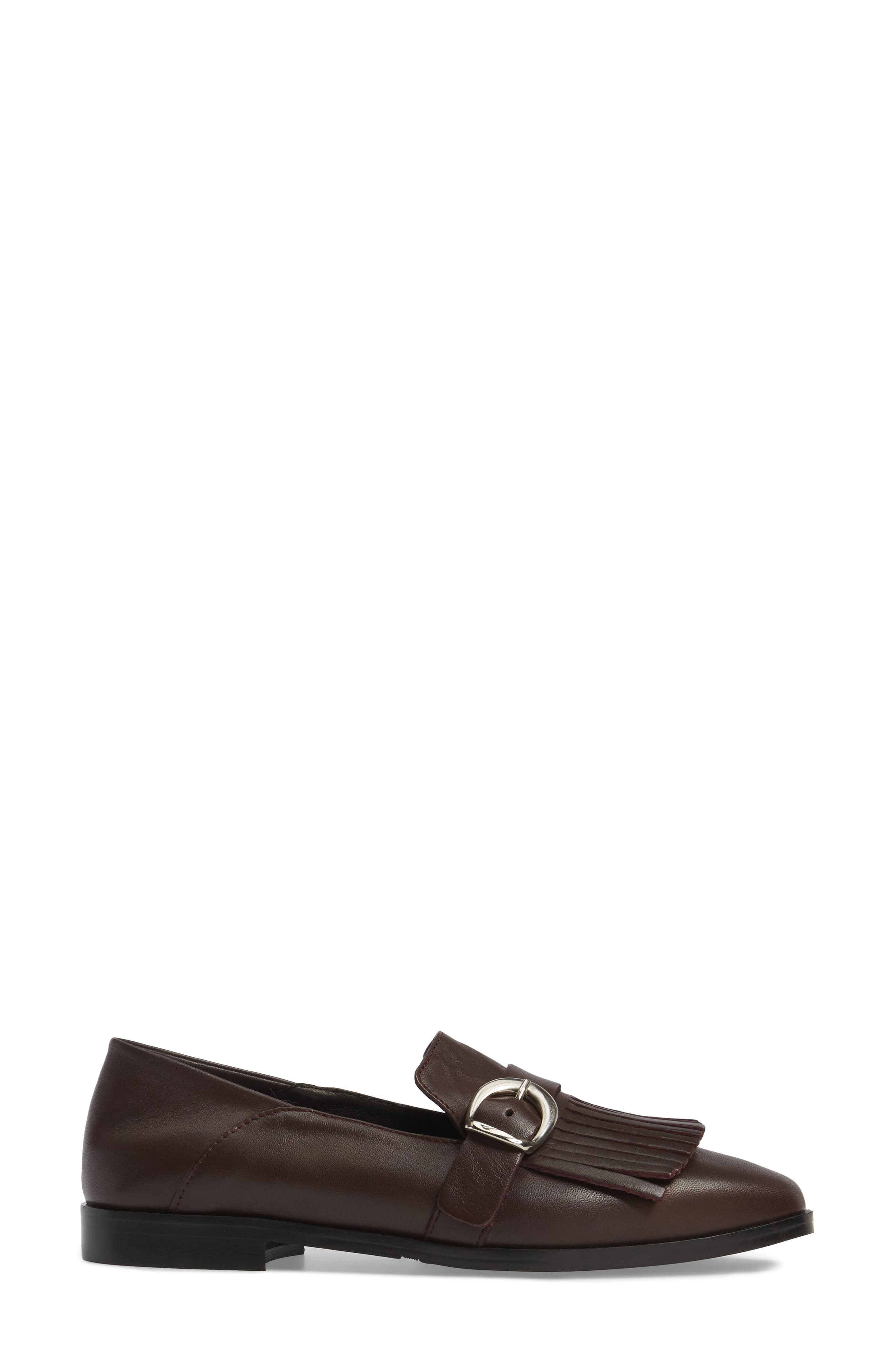 Dame Fringed Loafer Flat,                             Alternate thumbnail 3, color,                             Burgundy Leather