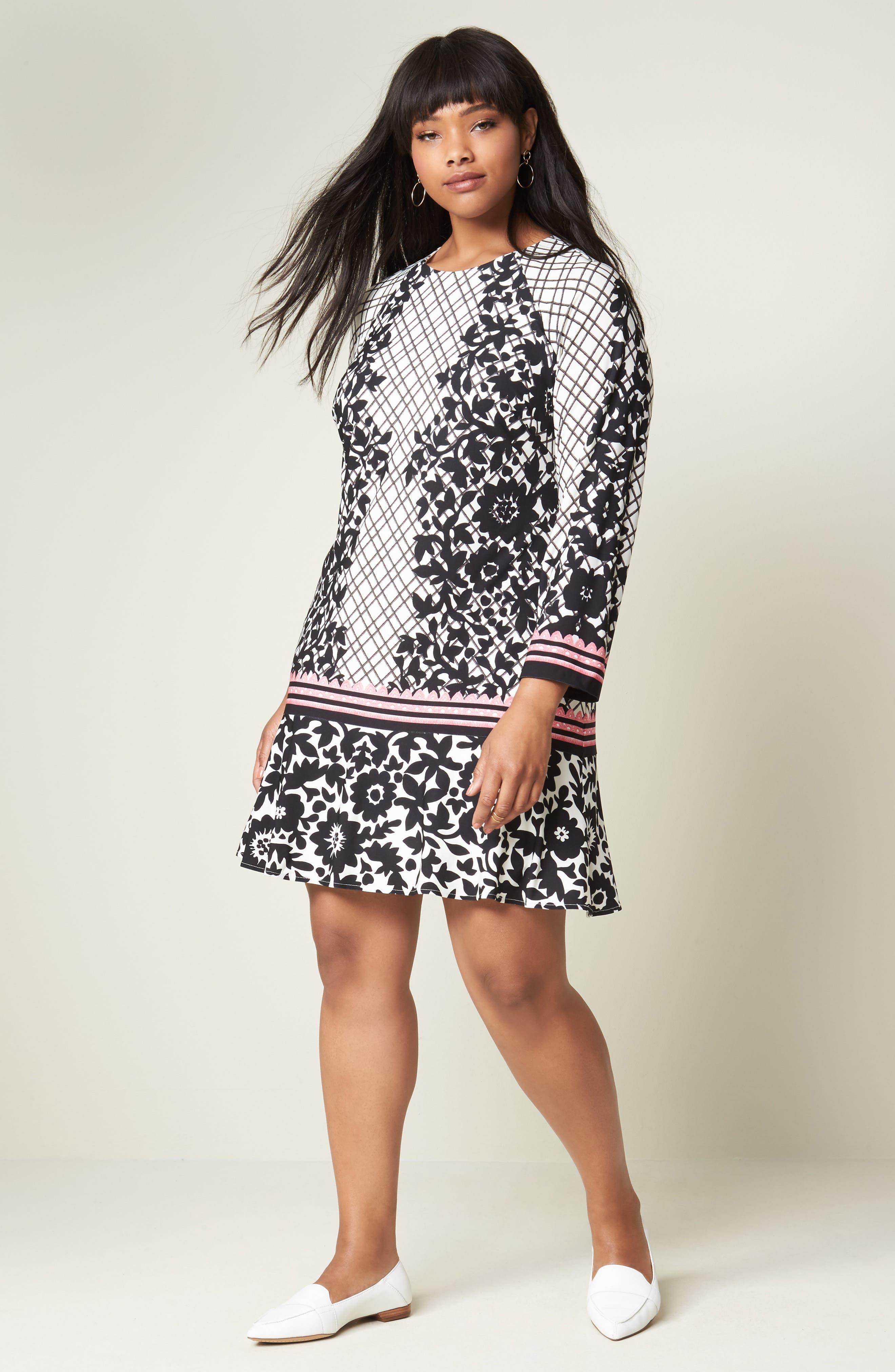 Lace Trim Shift Dress,                             Alternate thumbnail 2, color,                             Black/ Pink