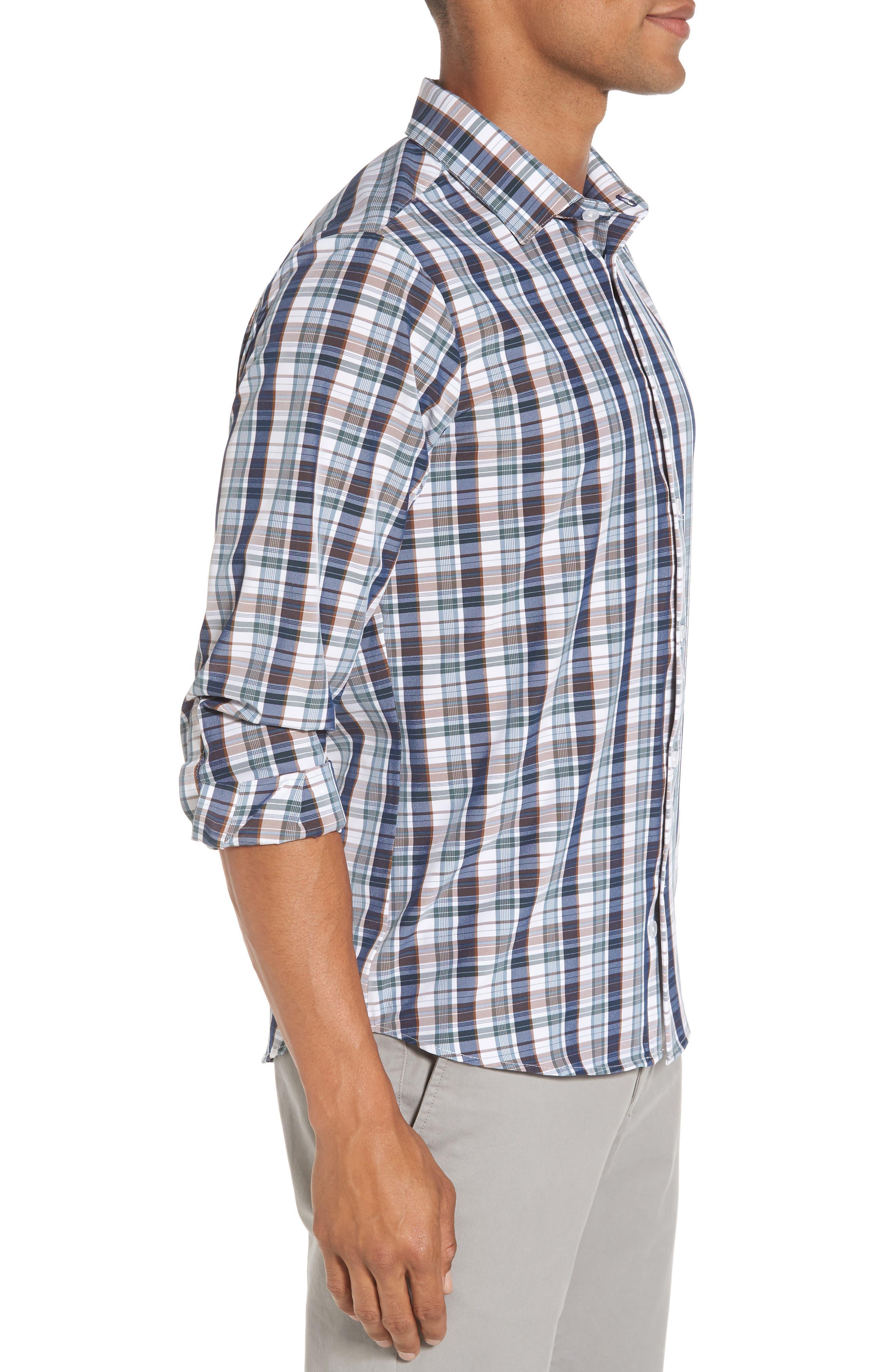 Alternate Image 3  - Mizzen+Main Russell Madras Plaid Performance Sport Shirt (Regular & Tall)