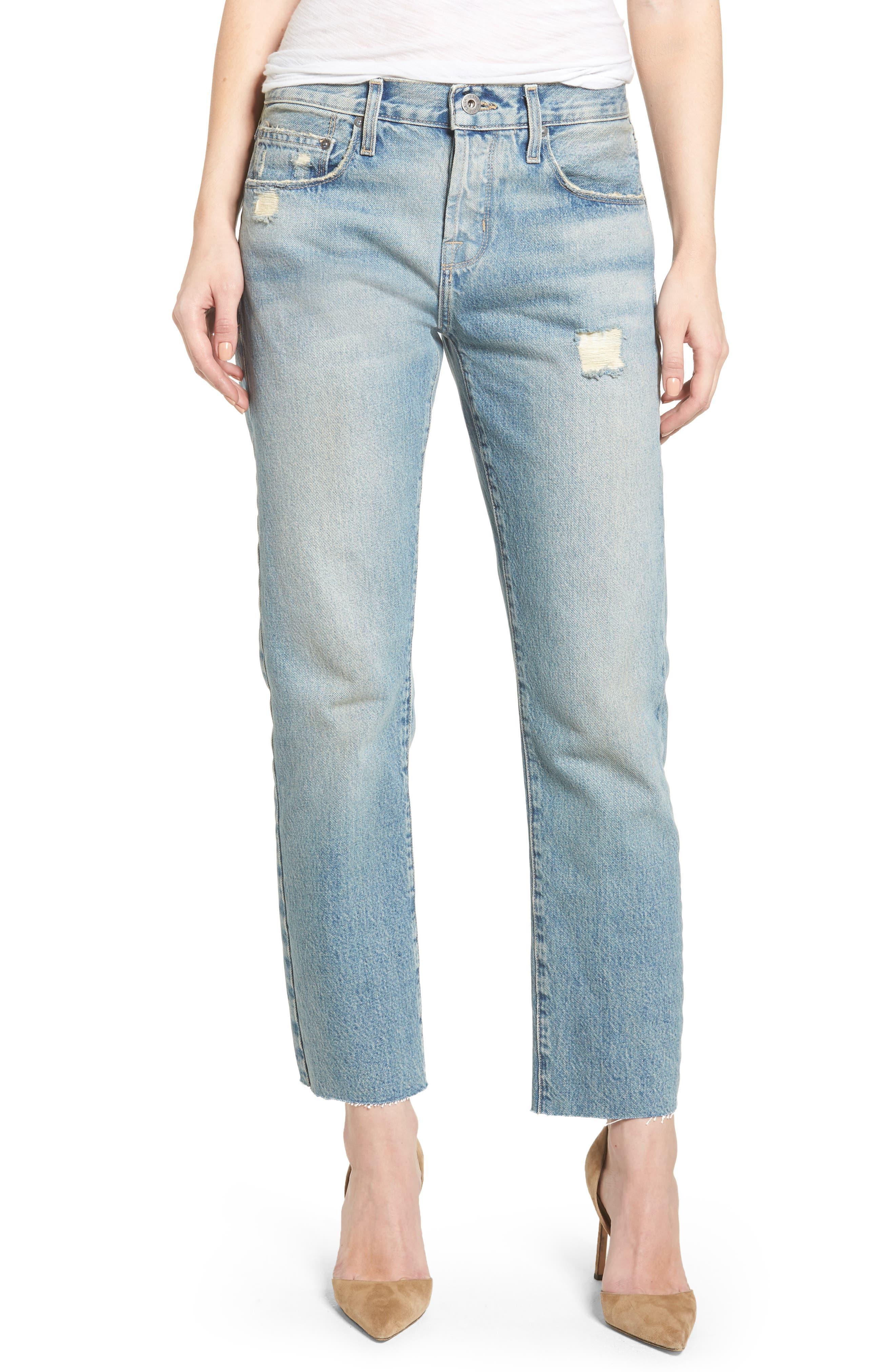 Current/Elliott The Crossover High Waist Straight Leg Jeans (Ashbury Destruct)