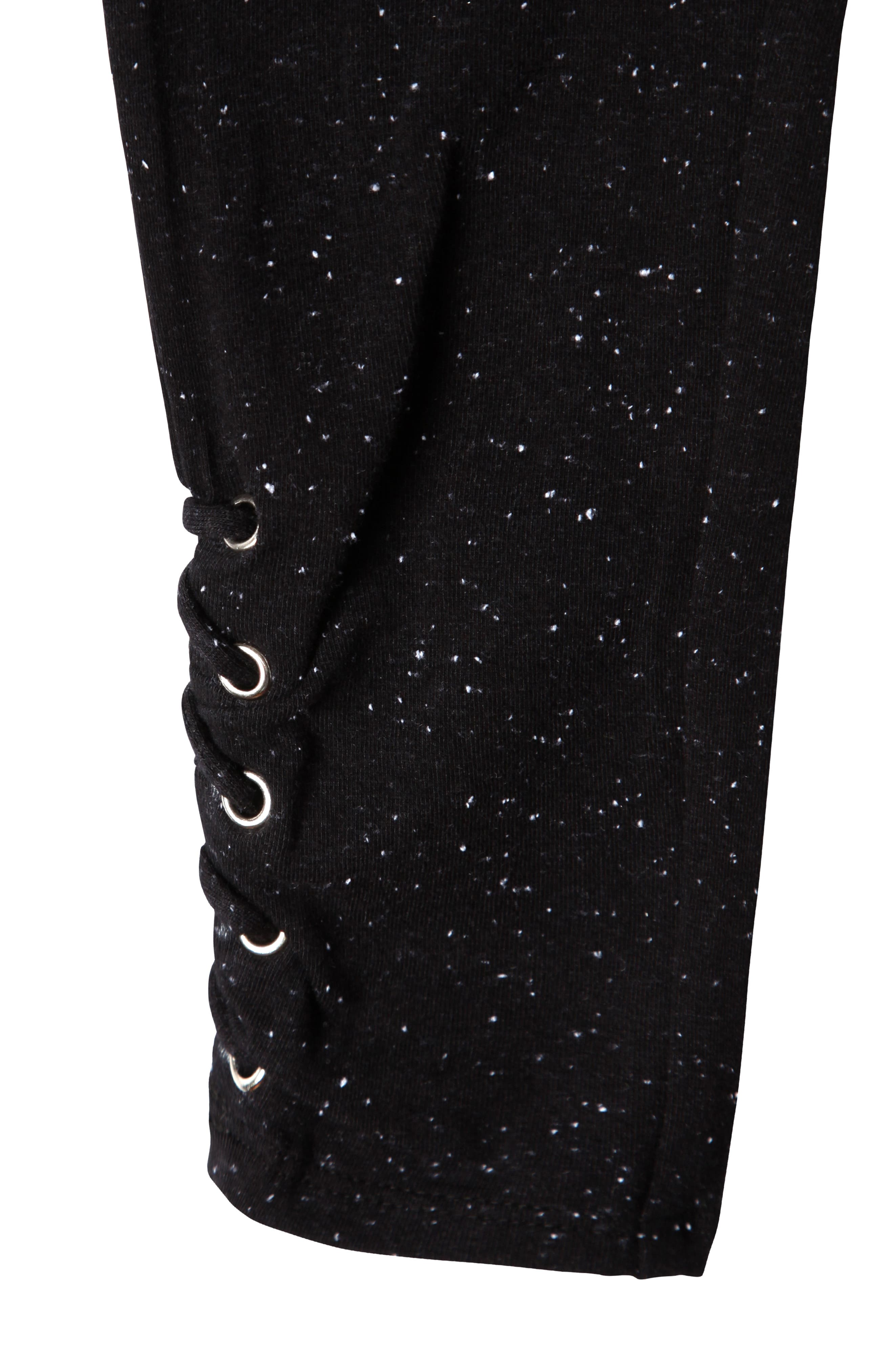 Aria Lace-Up Leggings,                             Alternate thumbnail 3, color,                             Black