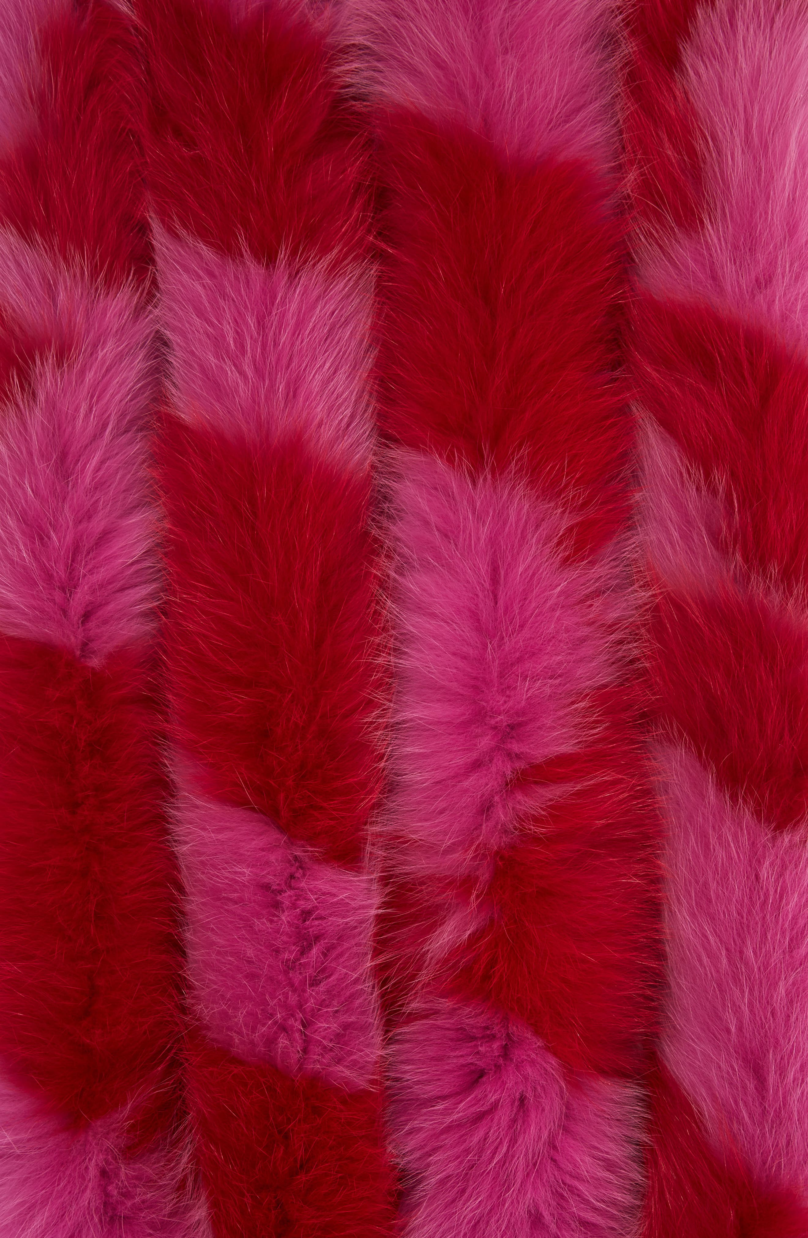 Lacey Genuine Fox Fur Skinny Scarf,                             Alternate thumbnail 2, color,                             Red/Hot Pink