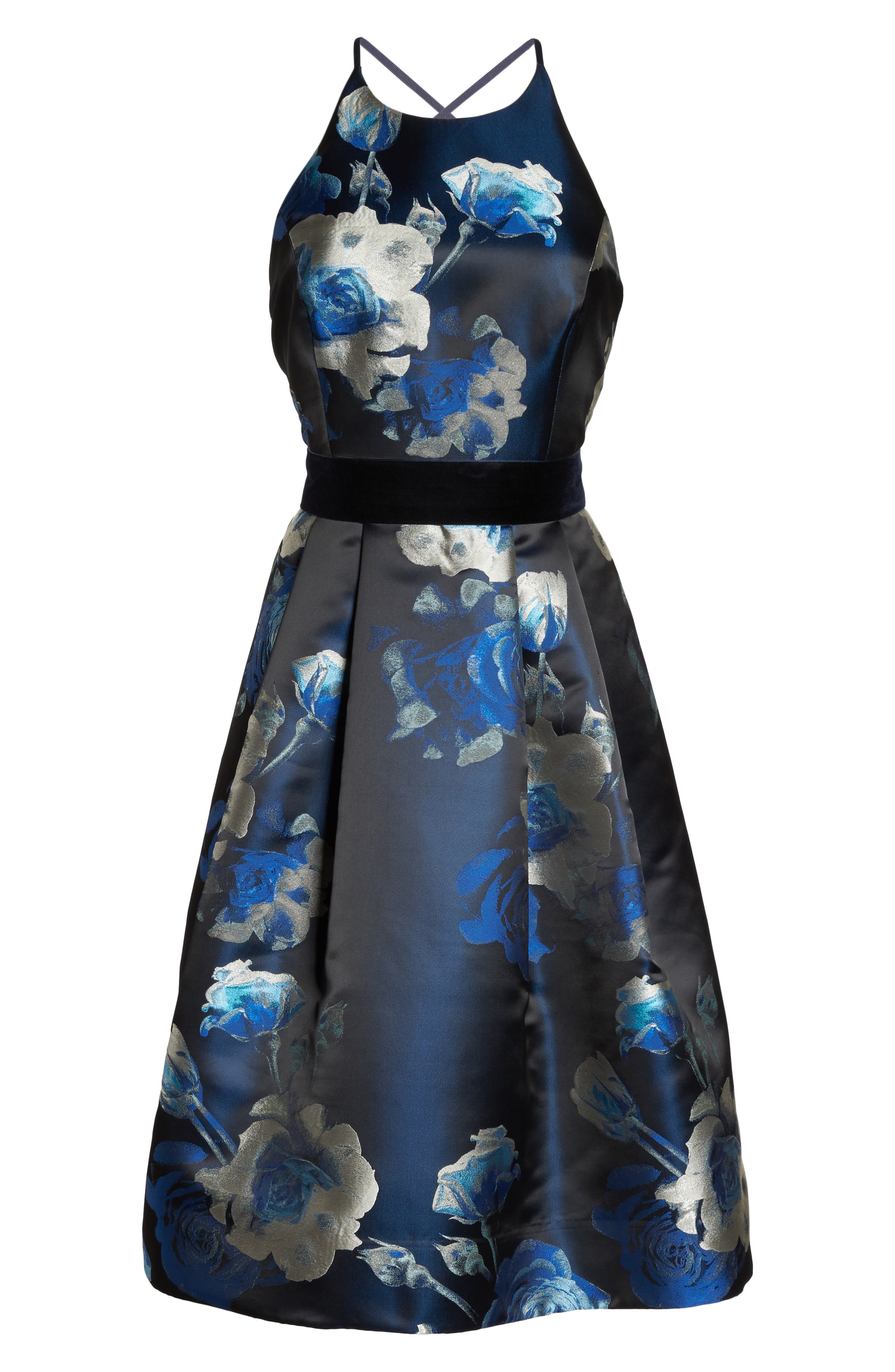 Jacquard Fit & Flare Dress,                         Main,                         color, Black/ Blue