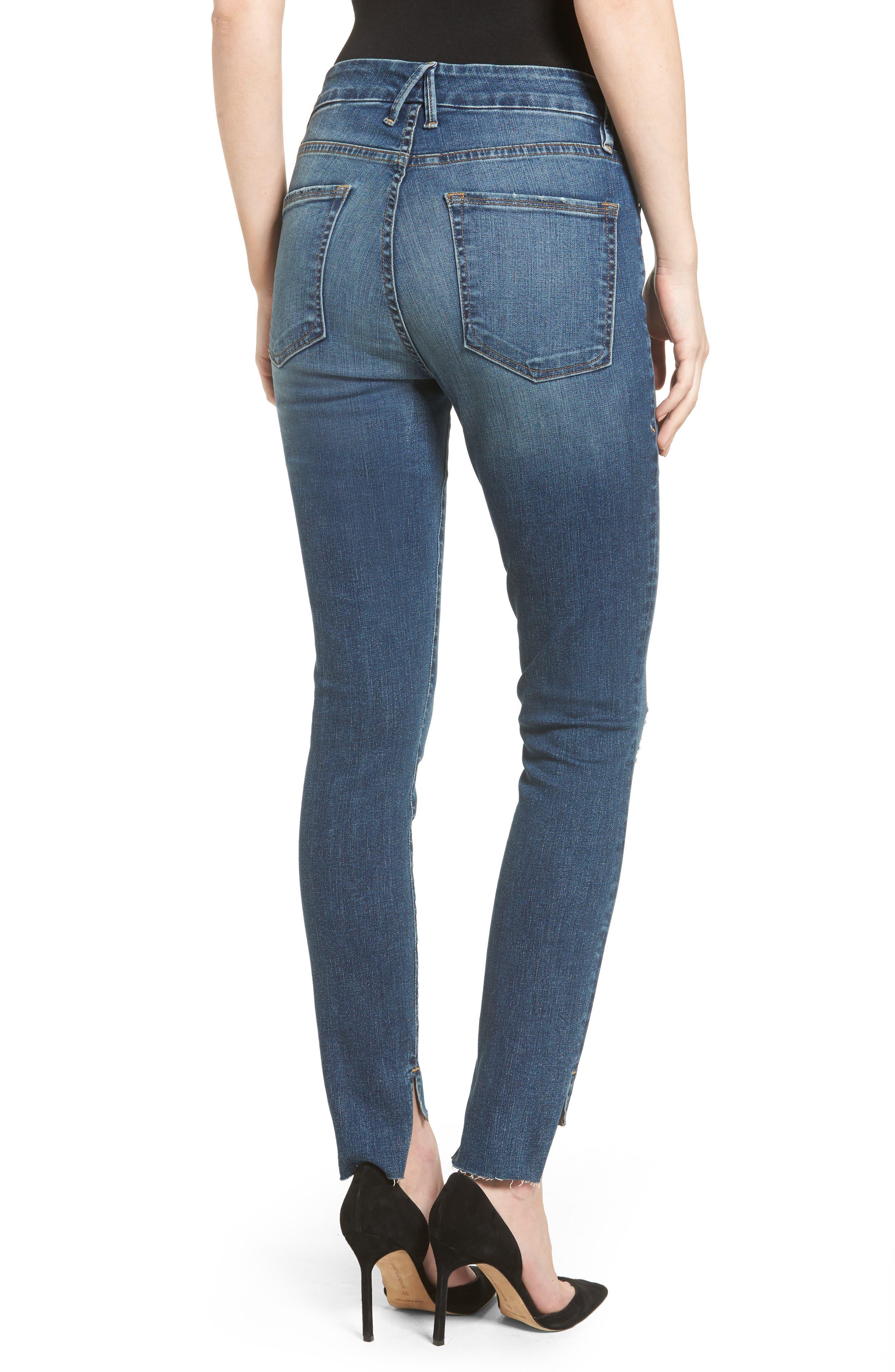 Good Waist Stagger Hem Jeans,                             Alternate thumbnail 2, color,                             Blue074