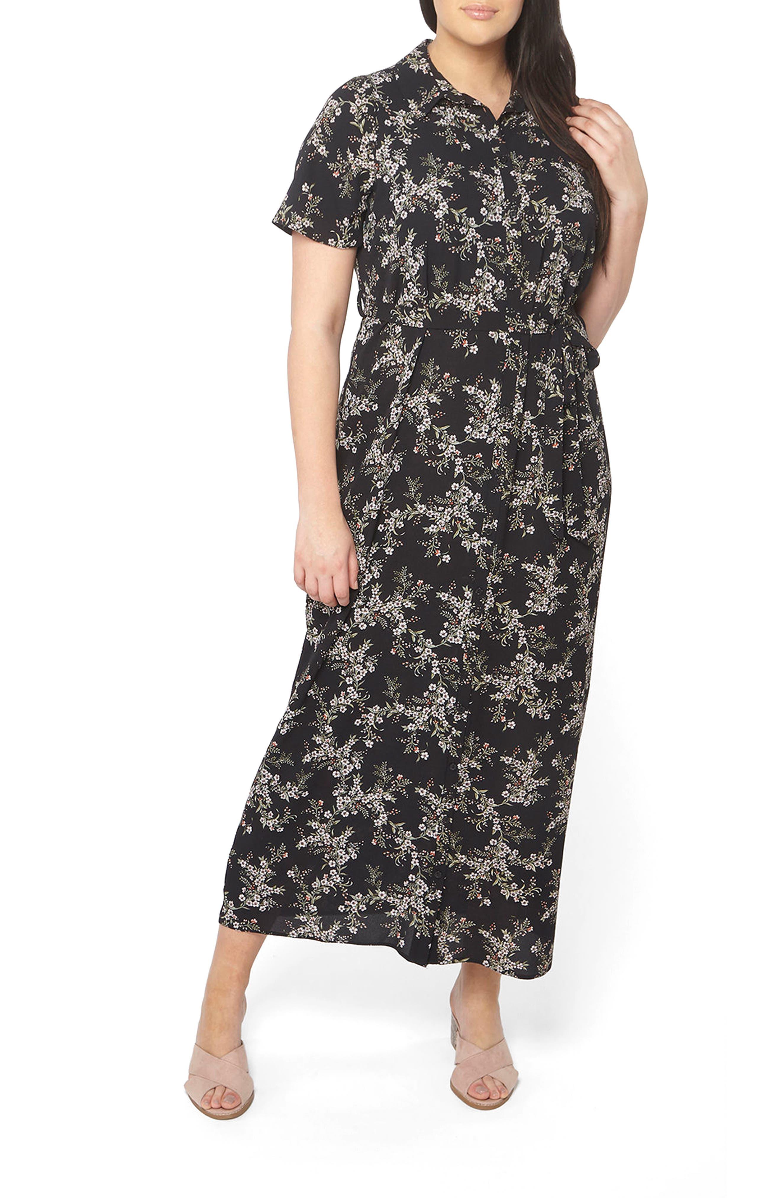Evans Floral Maxi Shirtdress (Plus Size)