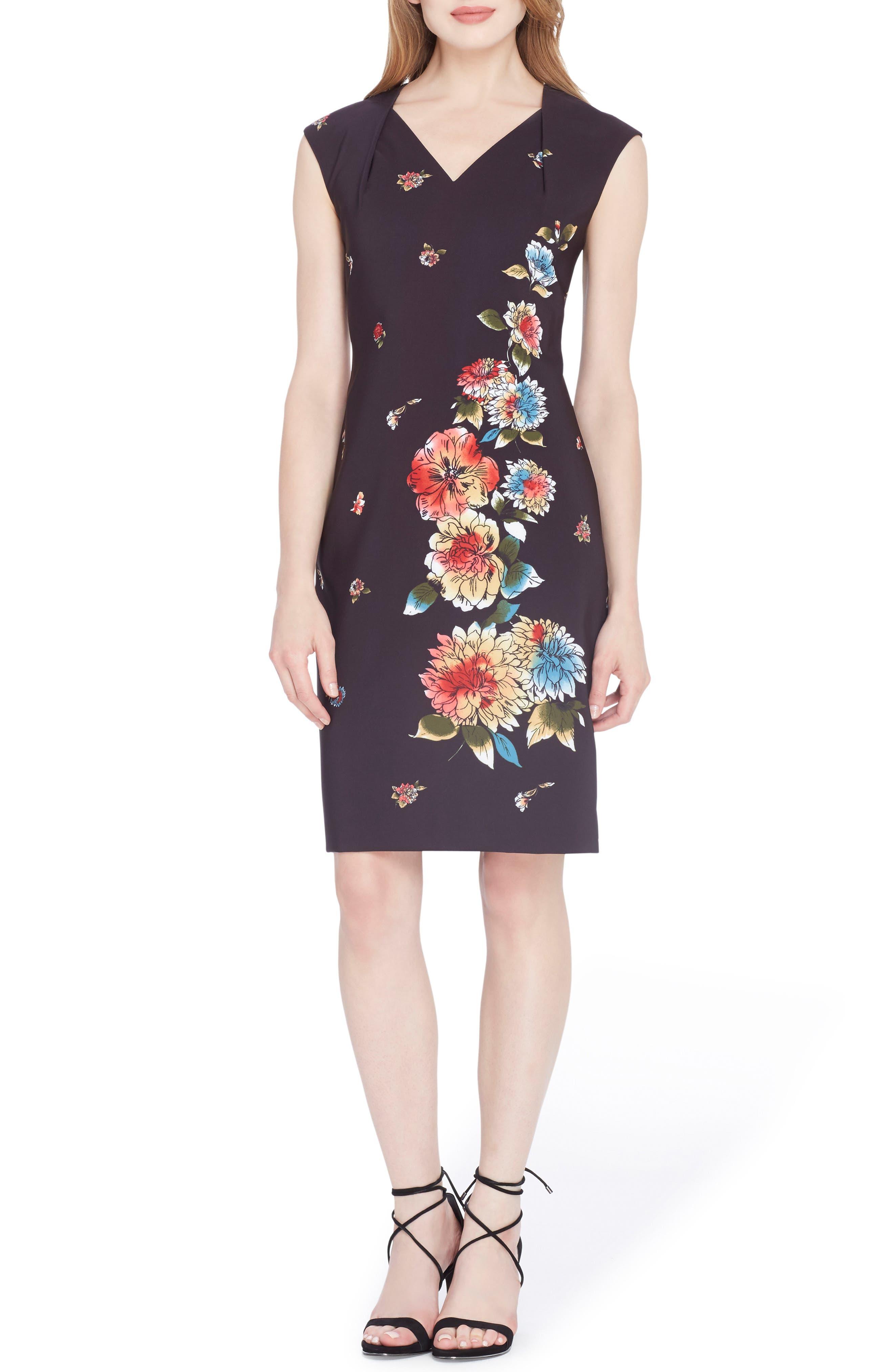 Floral Sheath Dress,                         Main,                         color, Black/ White/ Red