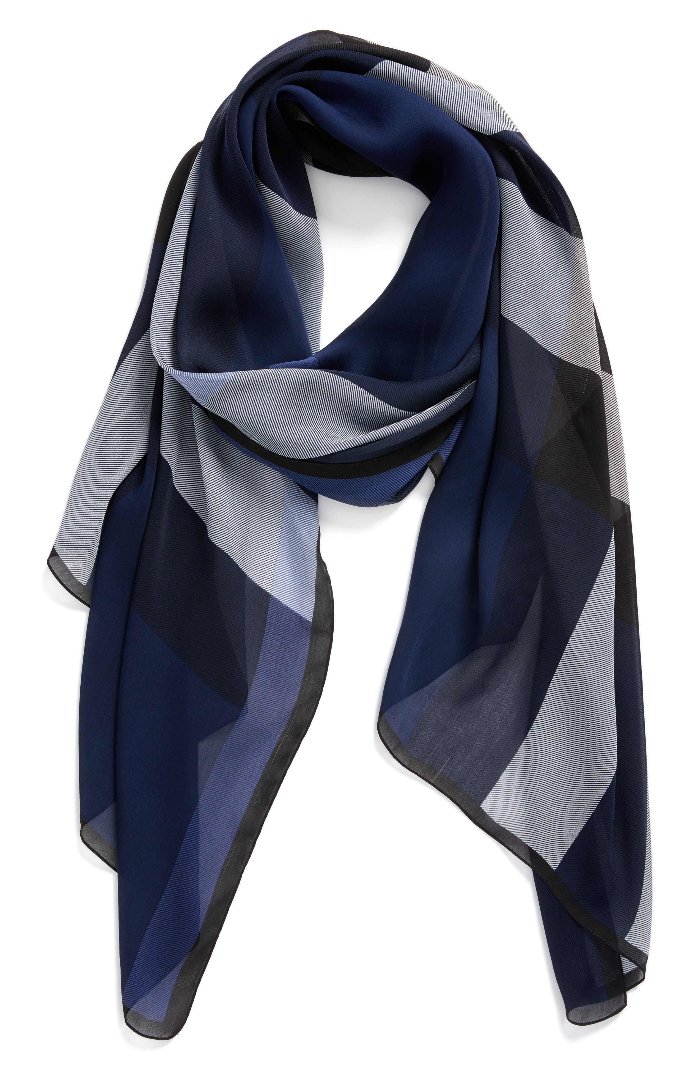 Mega Check Silk Scarf,                         Main,                         color, Indigo Blue