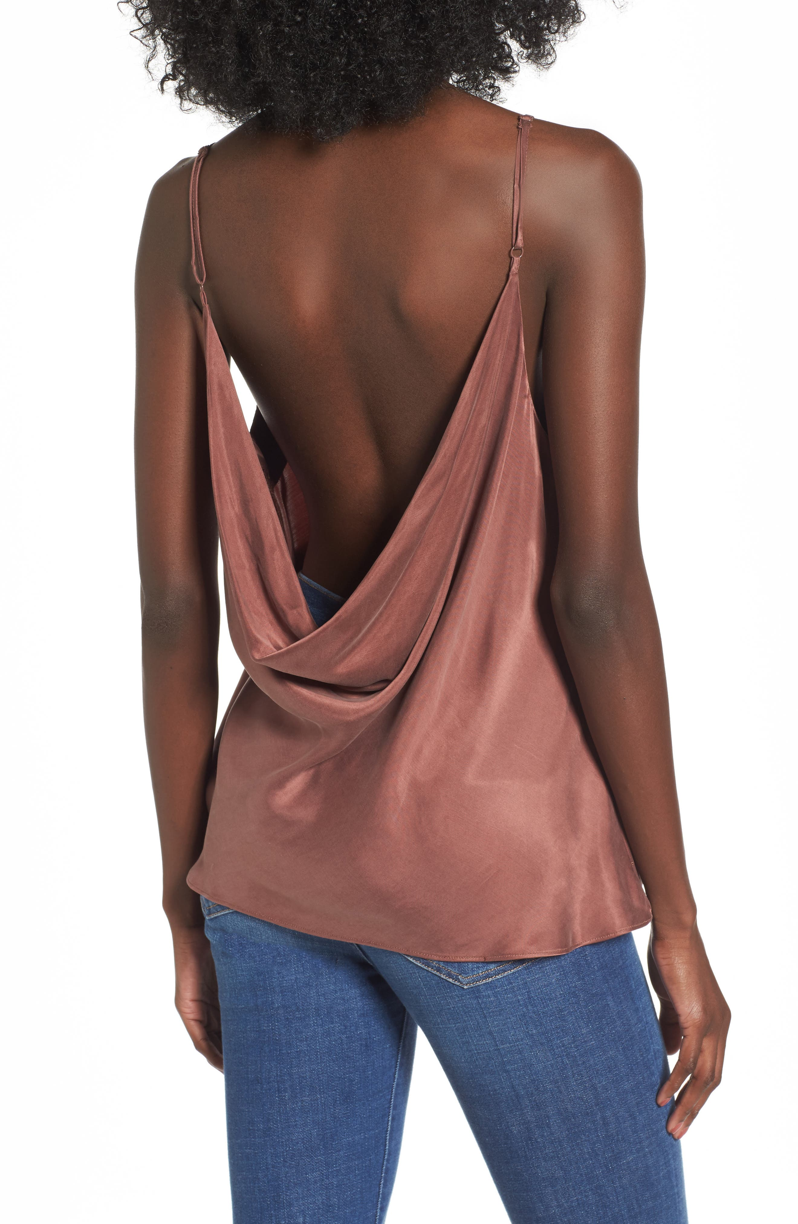Monica Drape Back Camisole,                             Alternate thumbnail 2, color,                             Chocolate Rose