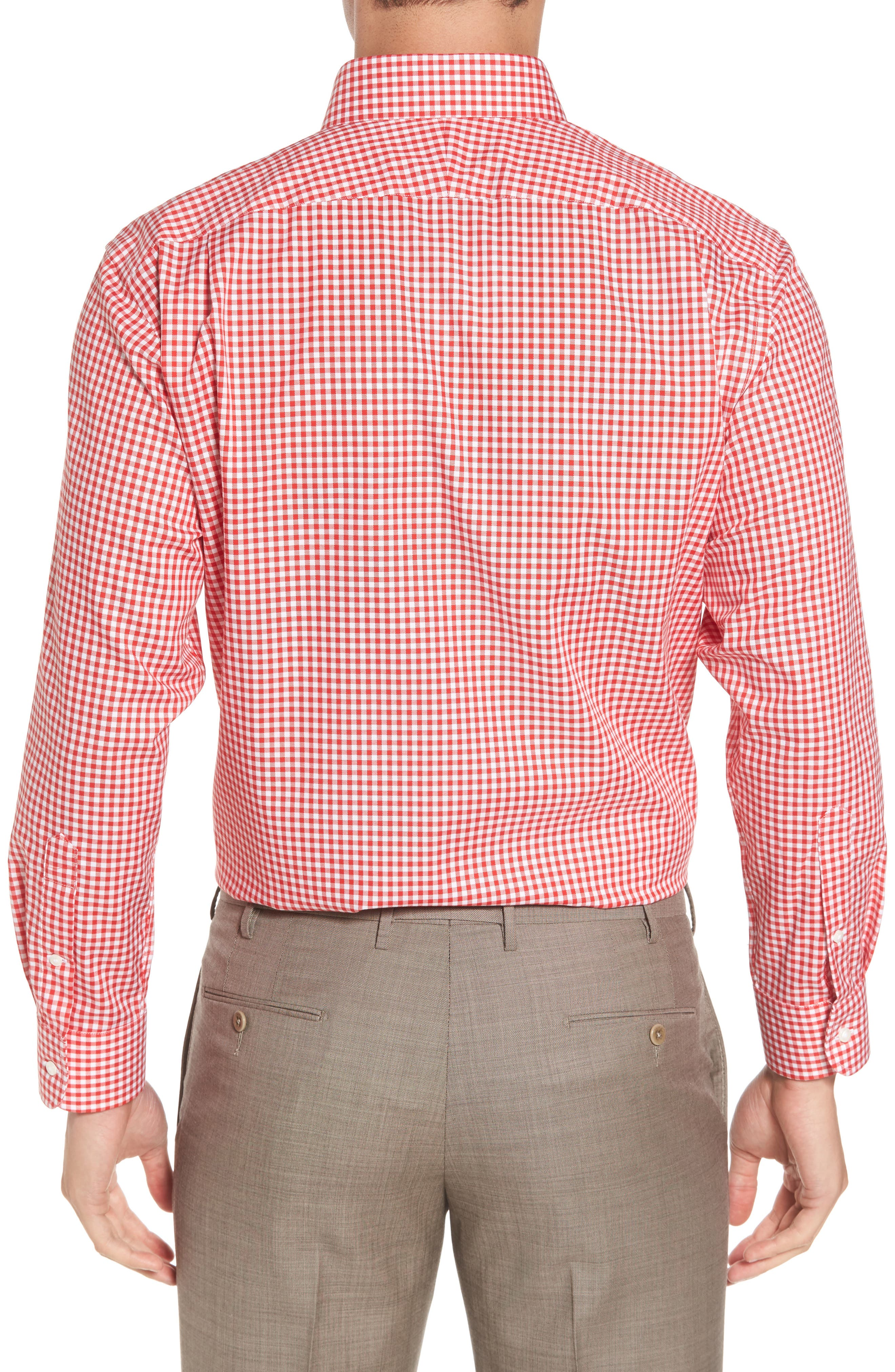 Traditional Fit Non-Iron Gingham Dress Shirt,                             Alternate thumbnail 2, color,                             Red Blaze