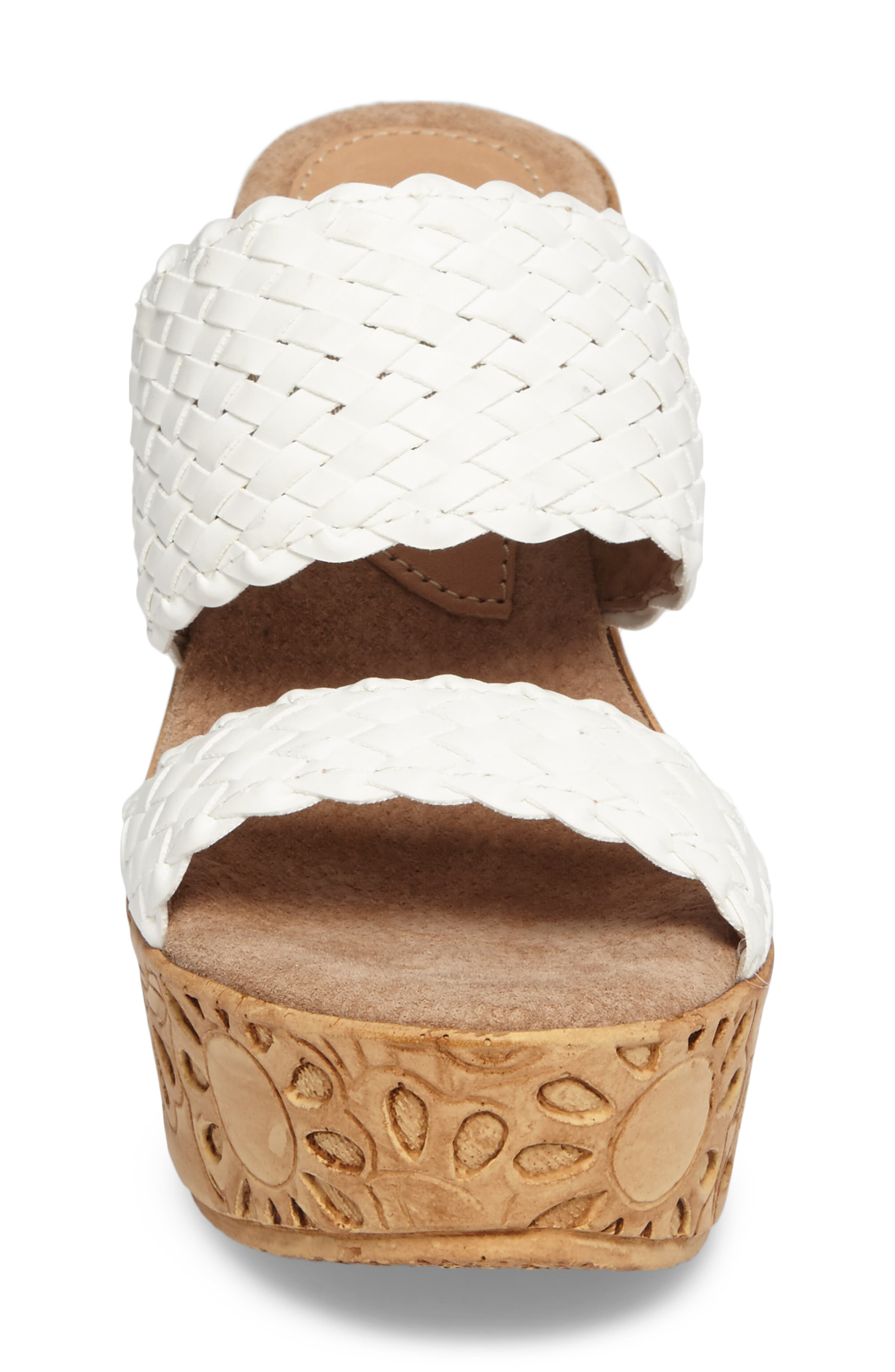 Halima Platform Wedge Sandal,                             Alternate thumbnail 4, color,                             White Leather